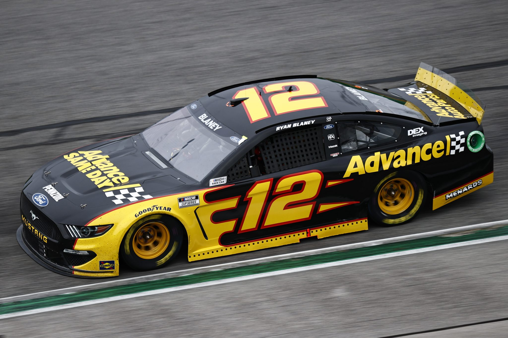 HAMPTON, GEORGIA - JULY 11: Ryan Blaney, driver of the #12 Advance Auto Parts Ford, drives during the NASCAR Cup Series Quaker State 400 presented by Walmart at Atlanta Motor Speedway on July 11, 2021 in Hampton, Georgia. (Photo by Jared C. Tilton/Getty Images) | Getty Images) | Getty Images