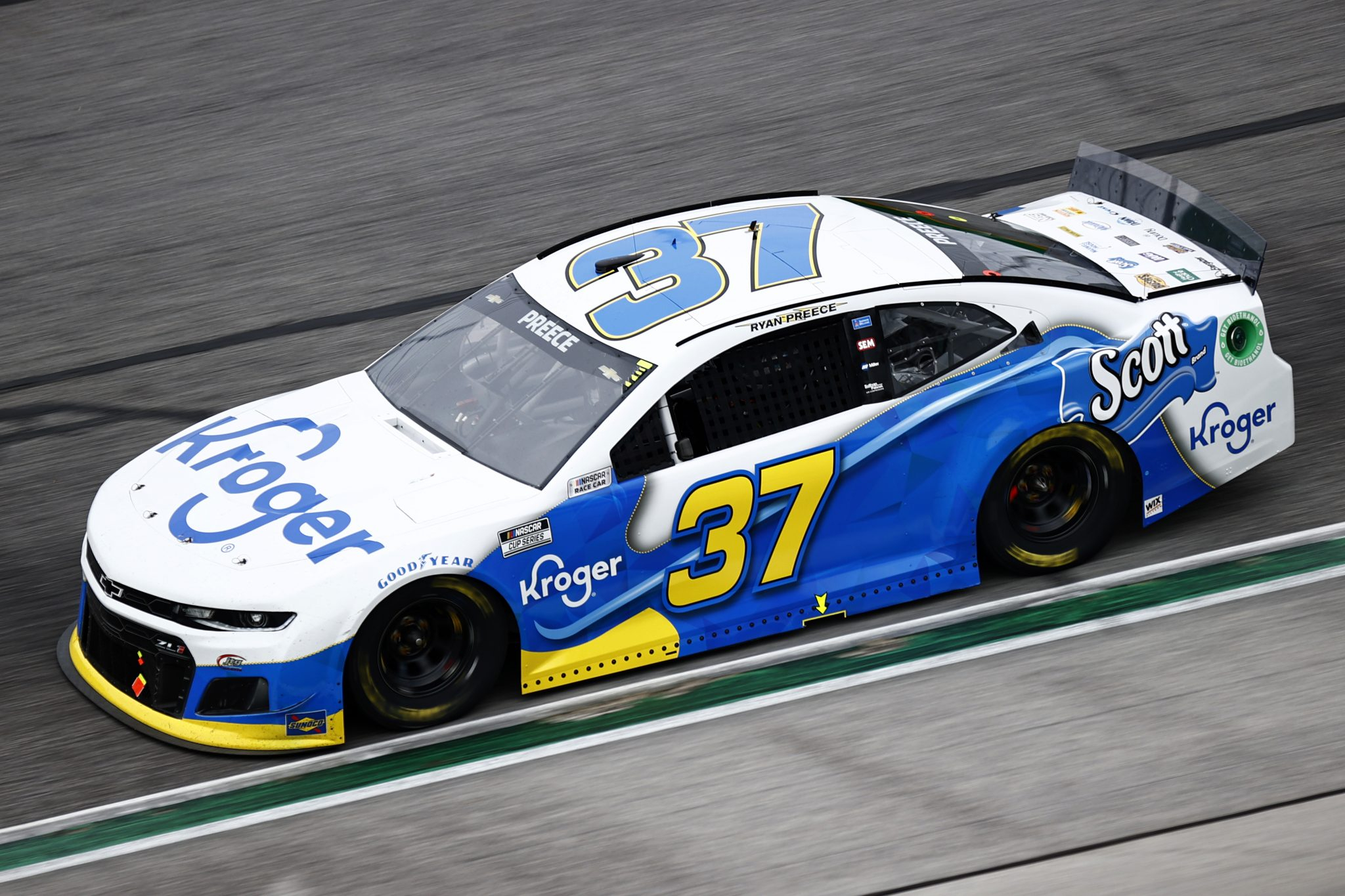 HAMPTON, GEORGIA - JULY 11: Ryan Preece, driver of the #37 Kroger/Scott Brand Chevrolet, drives during the NASCAR Cup Series Quaker State 400 presented by Walmart at Atlanta Motor Speedway on July 11, 2021 in Hampton, Georgia. (Photo by Jared C. Tilton/Getty Images) | Getty Images