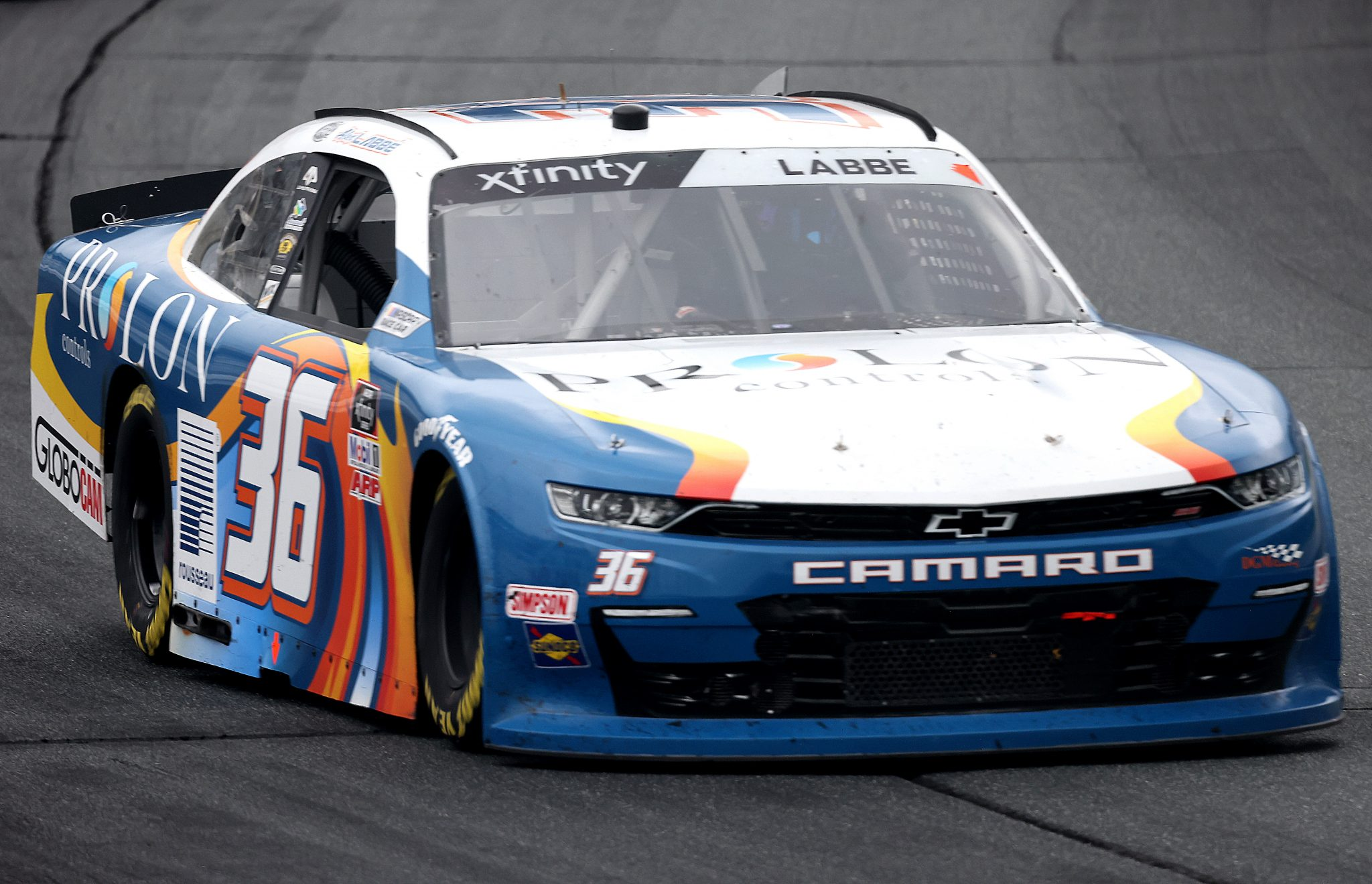 LOUDON, NEW HAMPSHIRE - JULY 17: Alex Labbe, driver of the #36 Prolon/rousseau/Silver Wax Chevrolet, drives during the NASCAR Xfinity Series Ambetter Get Vaccinated 200 at New Hampshire Motor Speedway on July 17, 2021 in Loudon, New Hampshire. (Photo by James Gilbert/Getty Images) | Getty Images