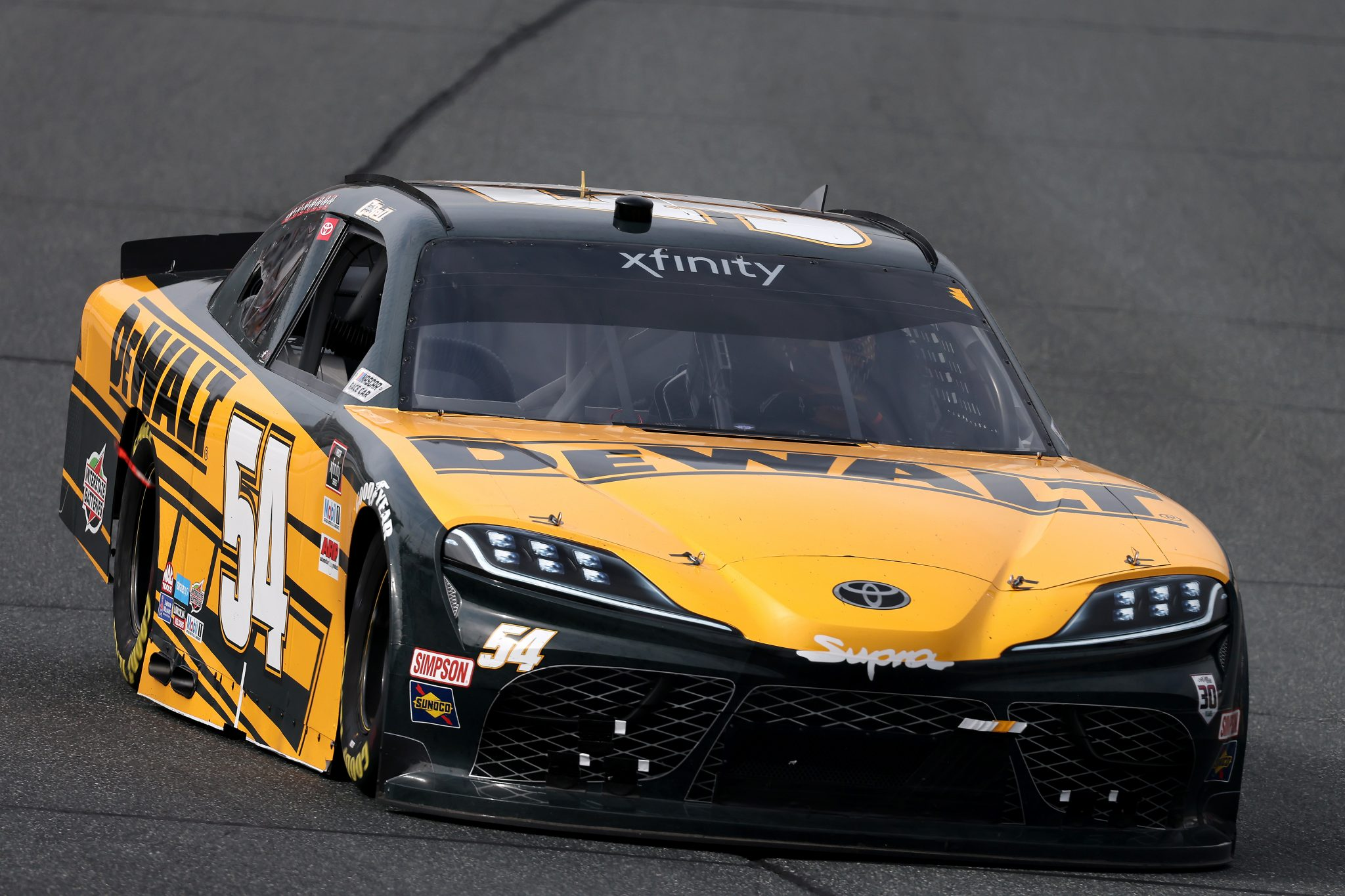 LOUDON, NEW HAMPSHIRE - JULY 17: Christopher Bell, driver of the #54 DEWALT Toyota, drives during the NASCAR Xfinity Series Ambetter Get Vaccinated 200 at New Hampshire Motor Speedway on July 17, 2021 in Loudon, New Hampshire. (Photo by James Gilbert/Getty Images) | Getty Images