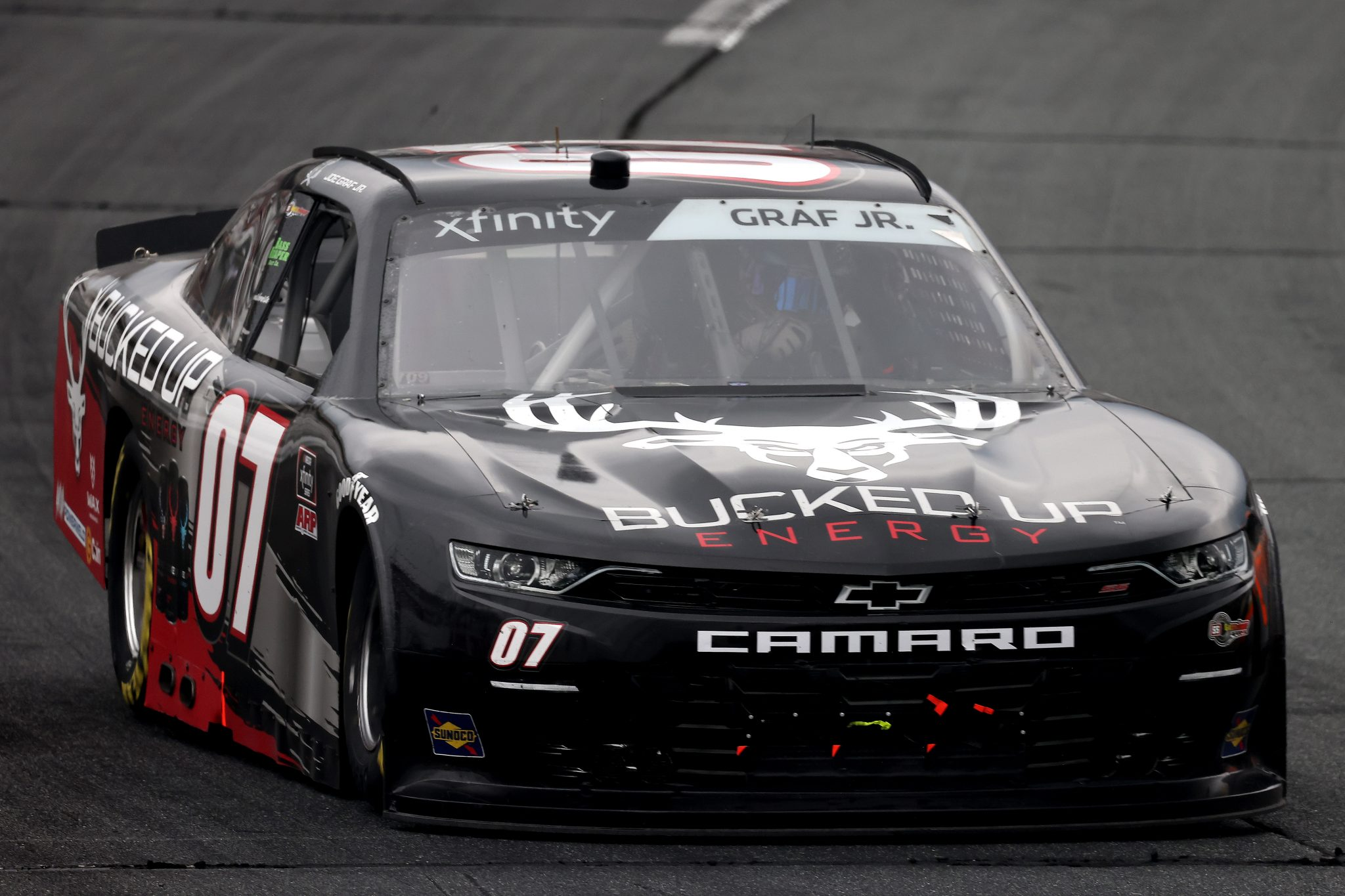 LOUDON, NEW HAMPSHIRE - JULY 17: Joe Graf Jr, driver of the #07 Bucked Up Energy Chevrolet, drives during the NASCAR Xfinity Series Ambetter Get Vaccinated 200 at New Hampshire Motor Speedway on July 17, 2021 in Loudon, New Hampshire. (Photo by James Gilbert/Getty Images) | Getty Images