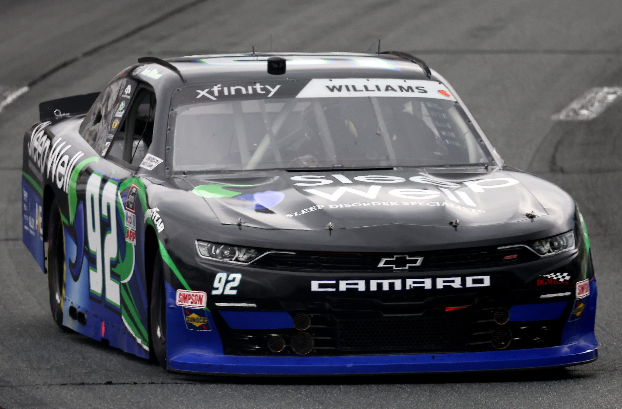 LOUDON, NEW HAMPSHIRE - JULY 17: Josh Williams, driver of the #92 Sleep Well/ANE Elctic Chevrolet, drives during the NASCAR Xfinity Series Ambetter Get Vaccinated 200 at New Hampshire Motor Speedway on July 17, 2021 in Loudon, New Hampshire. (Photo by James Gilbert/Getty Images)   Getty Images