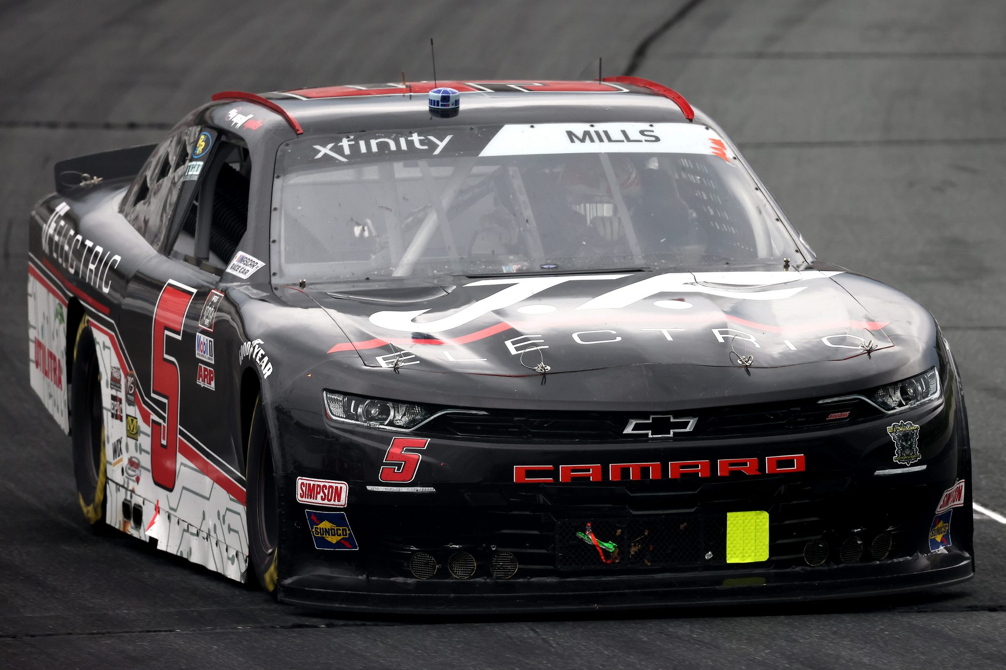 LOUDON, NEW HAMPSHIRE - JULY 17: Matt Mills, driver of the #5 JF Electric Chevrolet, drives during the NASCAR Xfinity Series Ambetter Get Vaccinated 200 at New Hampshire Motor Speedway on July 17, 2021 in Loudon, New Hampshire. (Photo by James Gilbert/Getty Images) | Getty Images
