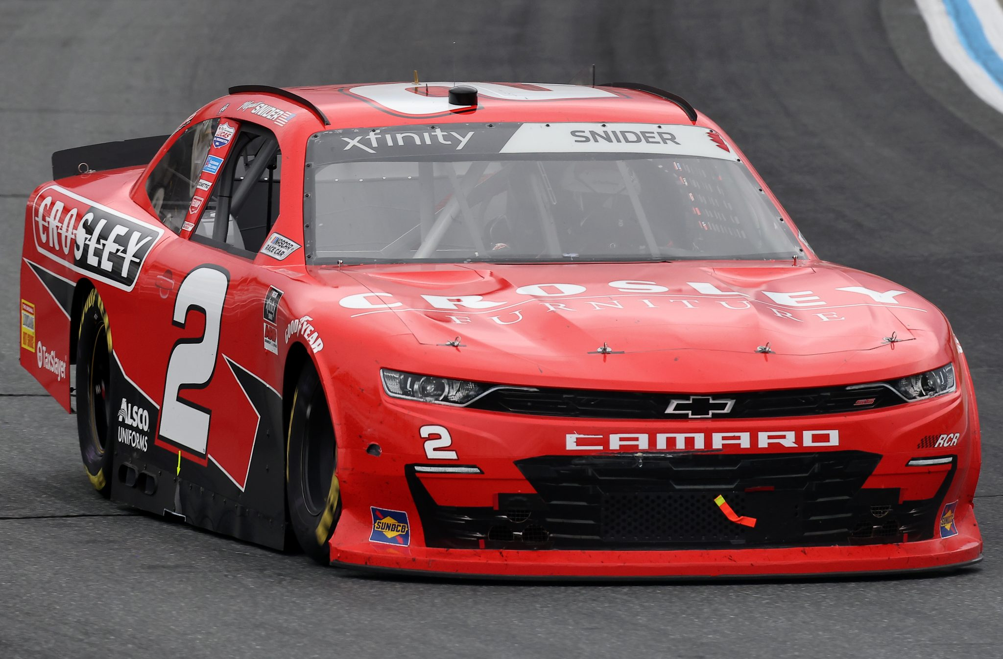 LOUDON, NEW HAMPSHIRE - JULY 17: Myatt Snider, driver of the #2 Crosley Furniture Chevrolet, drives during the NASCAR Xfinity Series Ambetter Get Vaccinated 200 at New Hampshire Motor Speedway on July 17, 2021 in Loudon, New Hampshire. (Photo by James Gilbert/Getty Images) | Getty Images