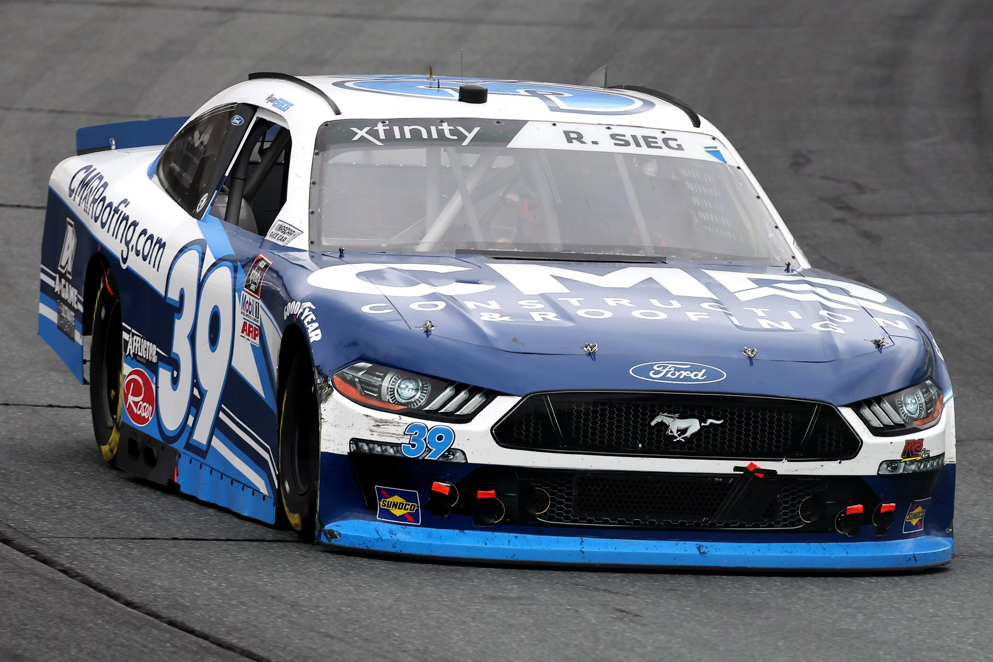 LOUDON, NEW HAMPSHIRE - JULY 17: Ryan Sieg, driver of the #39 CMR Construction and Roofing/A-Game Ford, drives during the NASCAR Xfinity Series Ambetter Get Vaccinated 200 at New Hampshire Motor Speedway on July 17, 2021 in Loudon, New Hampshire. (Photo by James Gilbert/Getty Images) | Getty Images