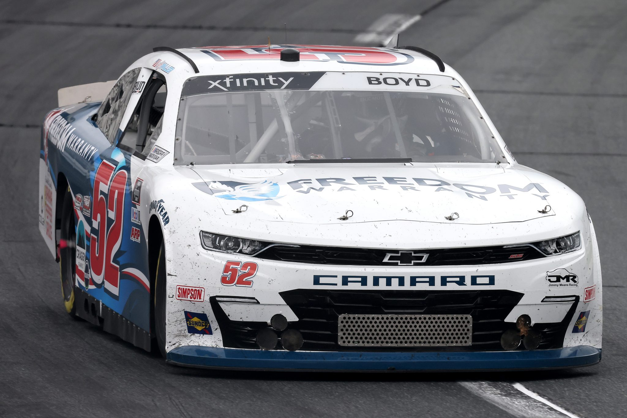 LOUDON, NEW HAMPSHIRE - JULY 17: Spencer Boyd, driver of the #52 Freedom Warranty Chevrolet, drives during the NASCAR Xfinity Series Ambetter Get Vaccinated 200 at New Hampshire Motor Speedway on July 17, 2021 in Loudon, New Hampshire. (Photo by James Gilbert/Getty Images)   Getty Images