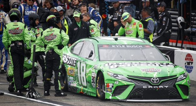 LOUDON, NEW HAMPSHIRE - JULY 18:  The pit crew work to repair  the #18 Interstate Batteries Toyota, driven by Kyle Busch during the NASCAR Cup Series  Foxwoods Resort Casino 301 at New Hampshire Motor Speedway on July 18, 2021 in Loudon, New Hampshire. (Photo by Jared C. Tilton/Getty Images) | Getty Images