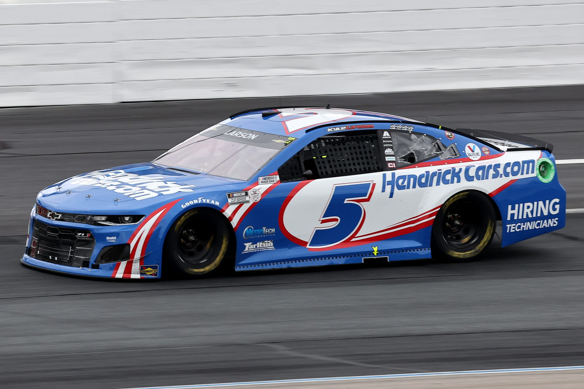 LOUDON, NEW HAMPSHIRE - JULY 18: Kyle Larson, driver of the #5 HendrickCars.com Chevrolet, drives during the NASCAR Cup Series Foxwoods Resort Casino 301 at New Hampshire Motor Speedway on July 18, 2021 in Loudon, New Hampshire. (Photo by James Gilbert/Getty Images)   Getty Images