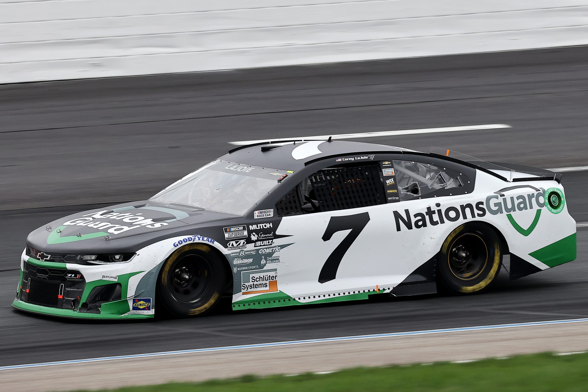 LOUDON, NEW HAMPSHIRE - JULY 18: Corey LaJoie, driver of the #7 Nations Guard Chevrolet, drives during the NASCAR Cup Series Foxwoods Resort Casino 301 at New Hampshire Motor Speedway on July 18, 2021 in Loudon, New Hampshire. (Photo by James Gilbert/Getty Images)   Getty Images