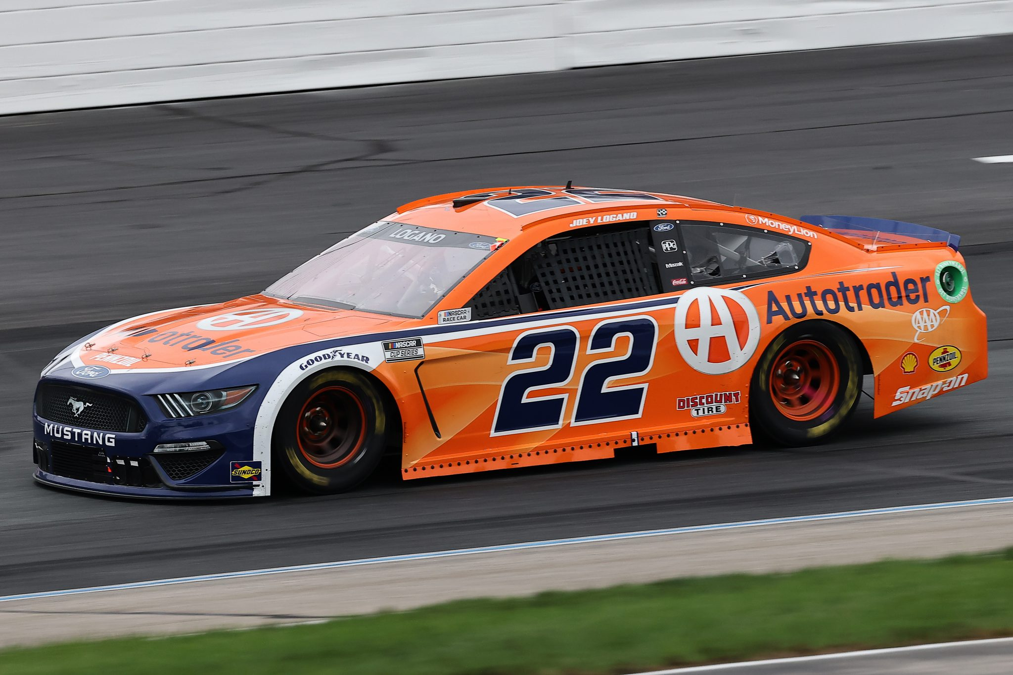 LOUDON, NEW HAMPSHIRE - JULY 18: Joey Logano, driver of the #22 Autotrader Ford,  drives during the NASCAR Cup Series Foxwoods Resort Casino 301 at New Hampshire Motor Speedway on July 18, 2021 in Loudon, New Hampshire. (Photo by James Gilbert/Getty Images) | Getty Images