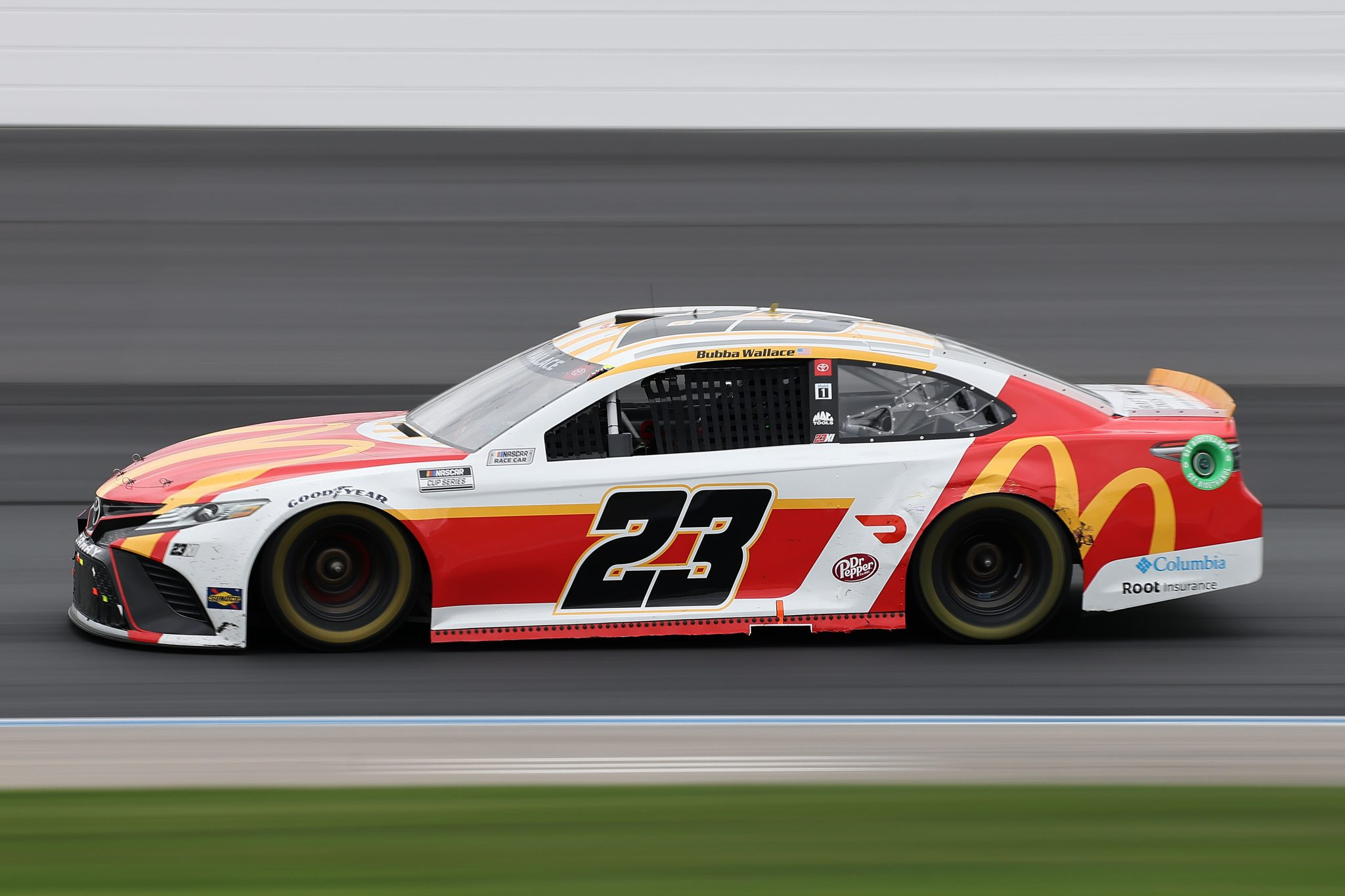 LOUDON, NEW HAMPSHIRE - JULY 18: Bubba Wallace, driver of the #23 McDonald's Toyota, drives during the NASCAR Cup Series Foxwoods Resort Casino 301 at New Hampshire Motor Speedway on July 18, 2021 in Loudon, New Hampshire. (Photo by James Gilbert/Getty Images)   Getty Images