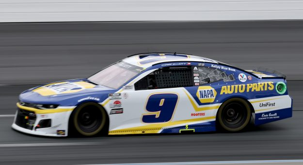 LOUDON, NEW HAMPSHIRE - JULY 18: Chase Elliott, driver of the #9 NAPA Auto Parts Chevrolet, drives during the NASCAR Cup Series Foxwoods Resort Casino 301 at New Hampshire Motor Speedway on July 18, 2021 in Loudon, New Hampshire. (Photo by James Gilbert/Getty Images) | Getty Images