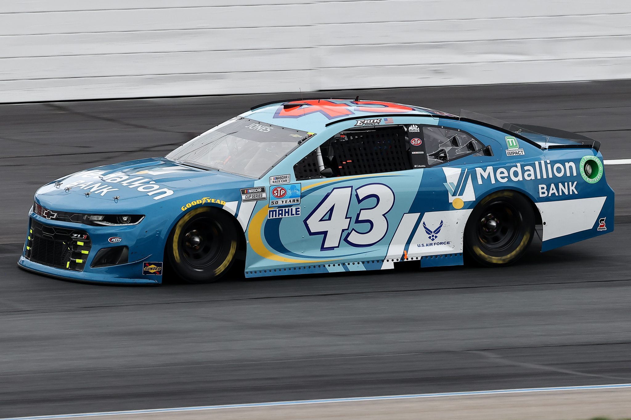 LOUDON, NEW HAMPSHIRE - JULY 18: Erik Jones, driver of the #43 Medallion Bank Chevrolet, drives during the NASCAR Cup Series Foxwoods Resort Casino 301 at New Hampshire Motor Speedway on July 18, 2021 in Loudon, New Hampshire. (Photo by James Gilbert/Getty Images) | Getty Images