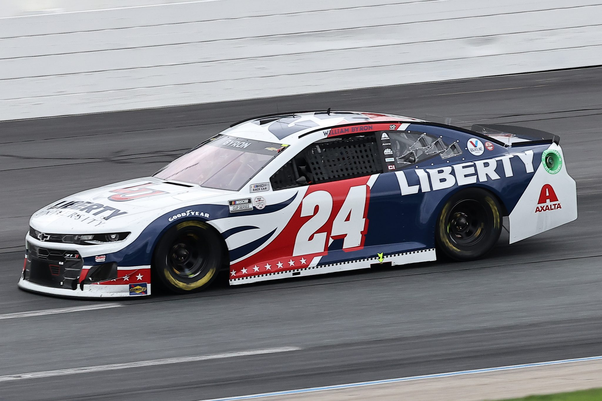 LOUDON, NEW HAMPSHIRE - JULY 18: William Byron, driver of the #24 Liberty University Chevrolet, drives during the NASCAR Cup Series Foxwoods Resort Casino 301 at New Hampshire Motor Speedway on July 18, 2021 in Loudon, New Hampshire. (Photo by James Gilbert/Getty Images)   Getty Images