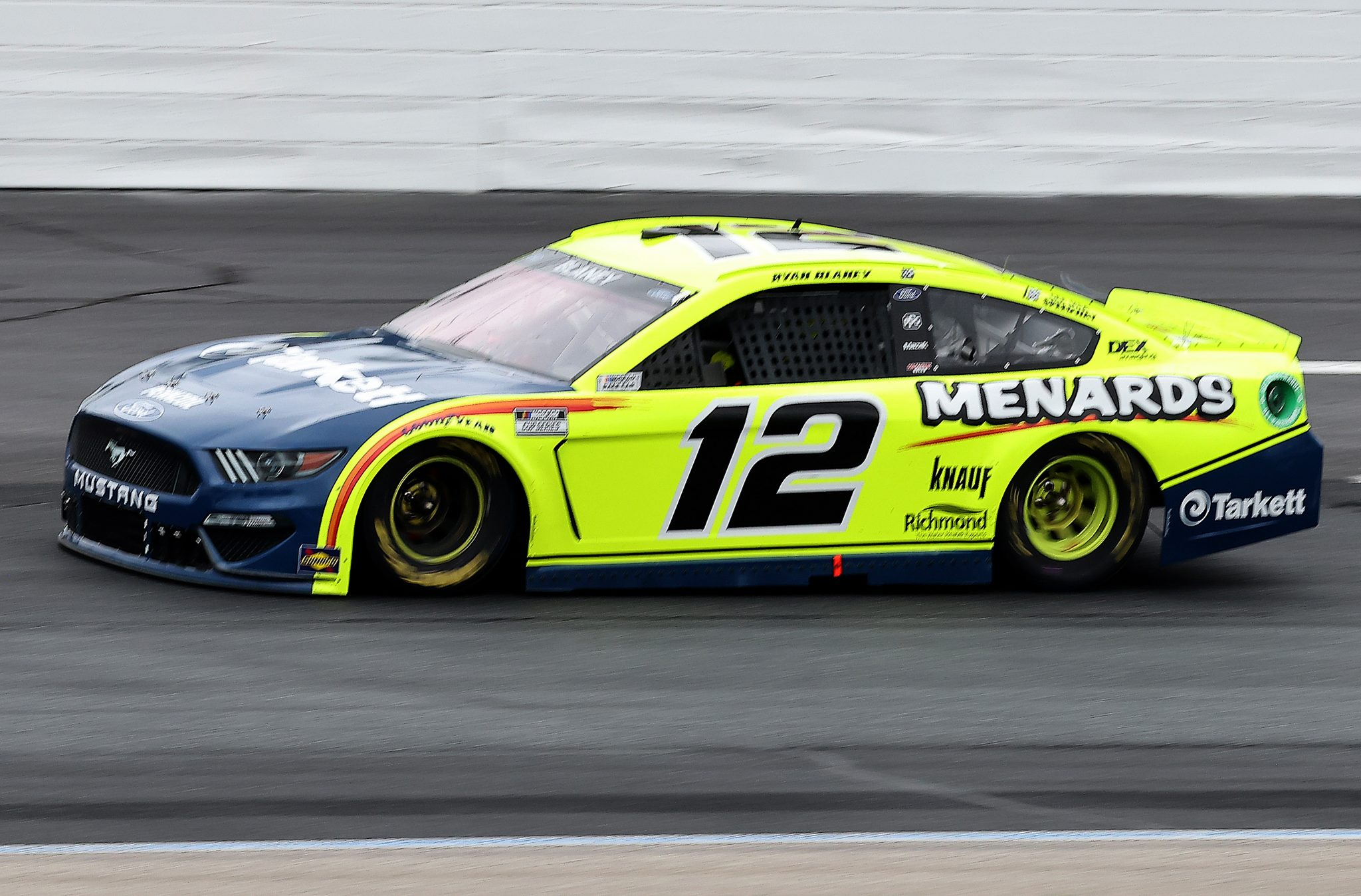 LOUDON, NEW HAMPSHIRE - JULY 18: Ryan Blaney, driver of the #12 Menards/Tarkett Ford, drives during the NASCAR Cup Series Foxwoods Resort Casino 301 at New Hampshire Motor Speedway on July 18, 2021 in Loudon, New Hampshire. (Photo by James Gilbert/Getty Images)   Getty Images