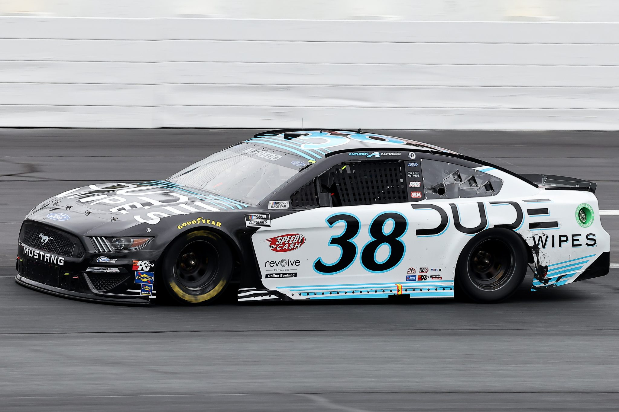 LOUDON, NEW HAMPSHIRE - JULY 18: Anthony Alfredo, driver of the #38 Dude Wipes Ford, drives during the NASCAR Cup Series Foxwoods Resort Casino 301 at New Hampshire Motor Speedway on July 18, 2021 in Loudon, New Hampshire. (Photo by James Gilbert/Getty Images)   Getty Images