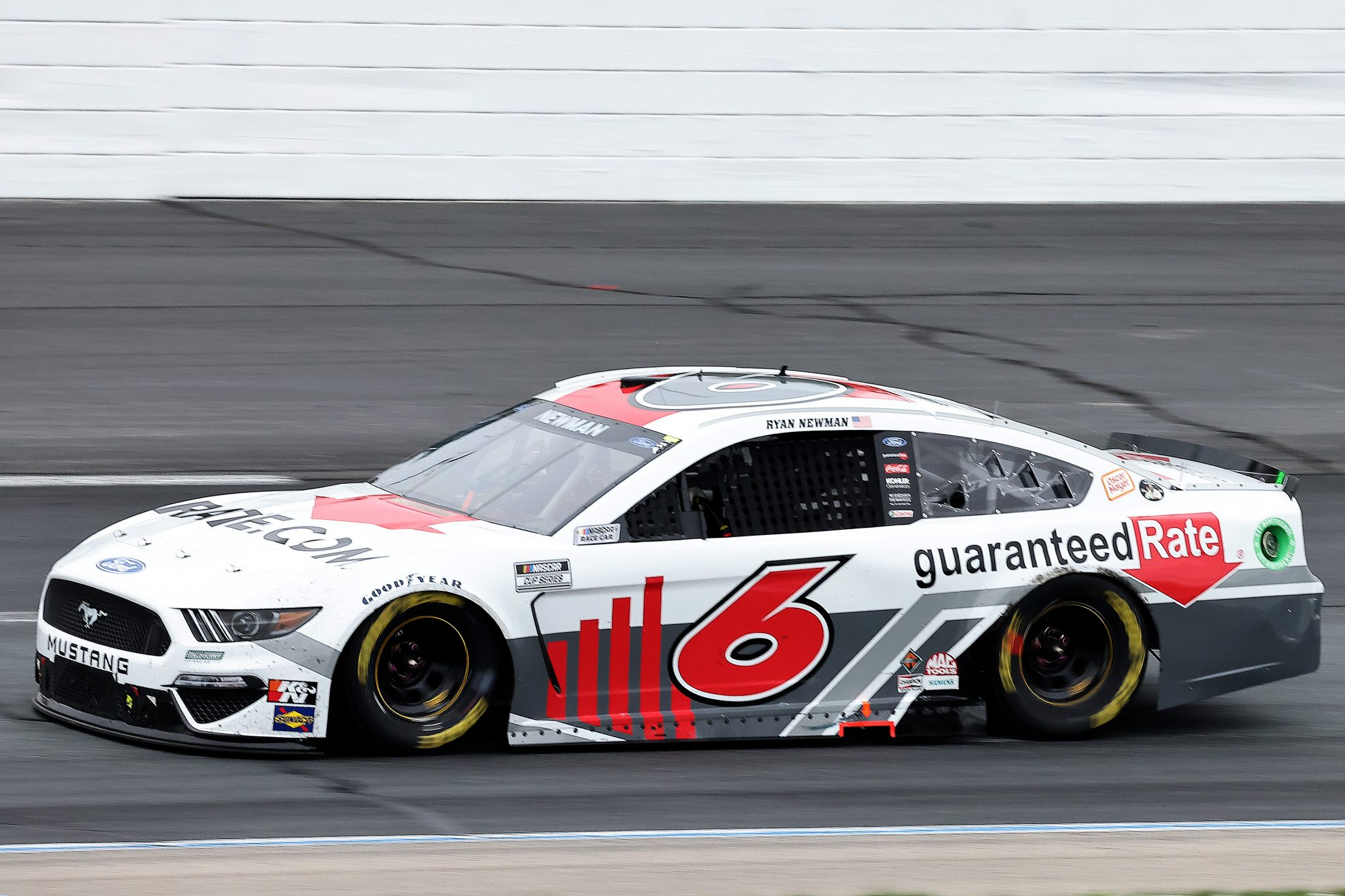 LOUDON, NEW HAMPSHIRE - JULY 18: Ryan Newman, driver of the #6 Guarenteed Rate Ford, drives during the NASCAR Cup Series Foxwoods Resort Casino 301 at New Hampshire Motor Speedway on July 18, 2021 in Loudon, New Hampshire. (Photo by James Gilbert/Getty Images) | Getty Images