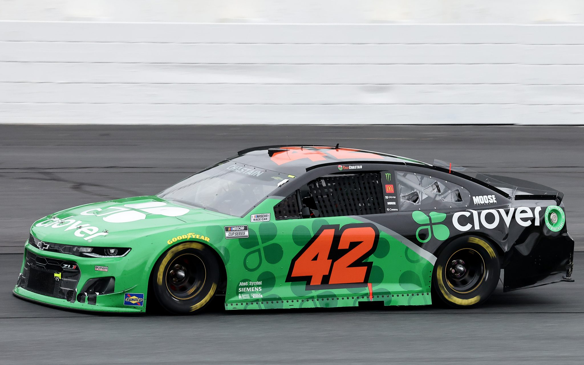 LOUDON, NEW HAMPSHIRE - JULY 18: Ross Chastain, driver of the #42 Clover Chevrolet, drives during the NASCAR Cup Series Foxwoods Resort Casino 301 at New Hampshire Motor Speedway on July 18, 2021 in Loudon, New Hampshire. (Photo by James Gilbert/Getty Images) | Getty Images