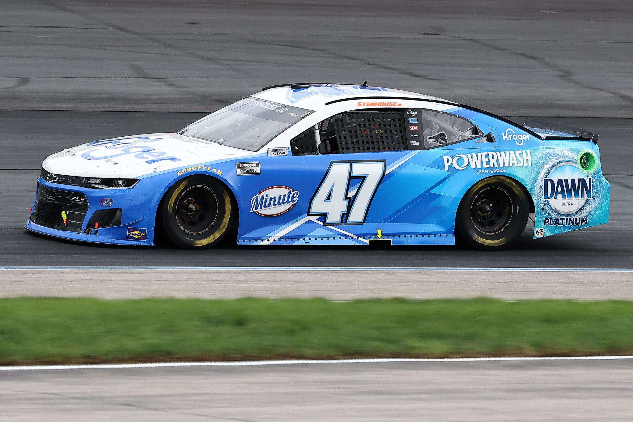 LOUDON, NEW HAMPSHIRE - JULY 18: Ricky Stenhouse Jr., driver of the #47 Kroger/Dawn Chevrolet, drives during the NASCAR Cup Series Foxwoods Resort Casino 301 at New Hampshire Motor Speedway on July 18, 2021 in Loudon, New Hampshire. (Photo by James Gilbert/Getty Images)   Getty Images