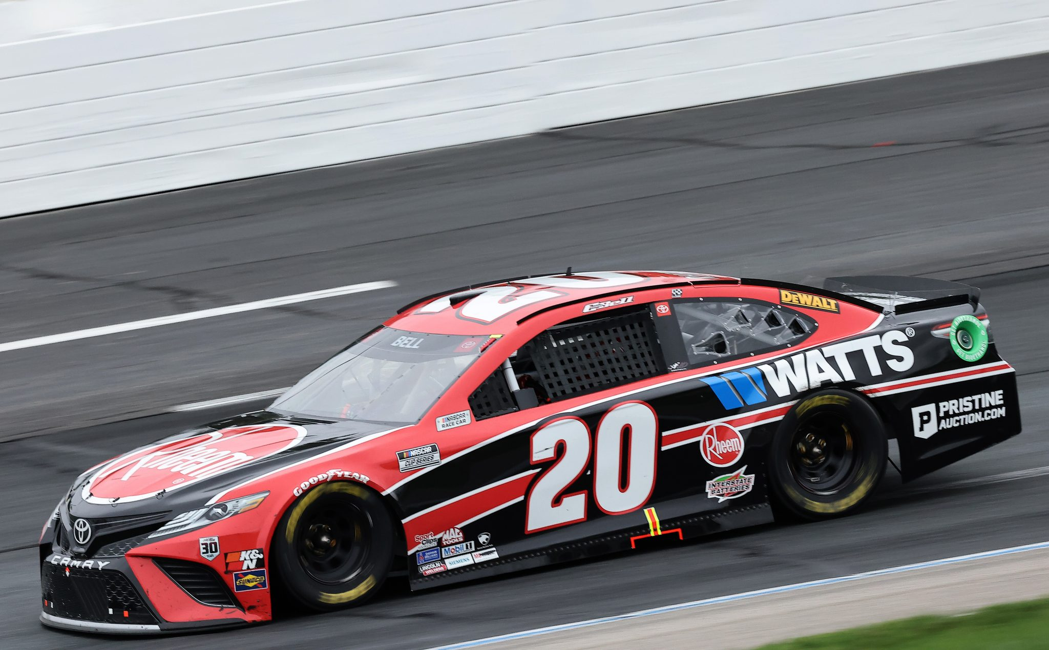 LOUDON, NEW HAMPSHIRE - JULY 18: Christopher Bell, driver of the #20 Rheem/Watts Toyota, drives during the NASCAR Cup Series Foxwoods Resort Casino 301 at New Hampshire Motor Speedway on July 18, 2021 in Loudon, New Hampshire. (Photo by James Gilbert/Getty Images) | Getty Images