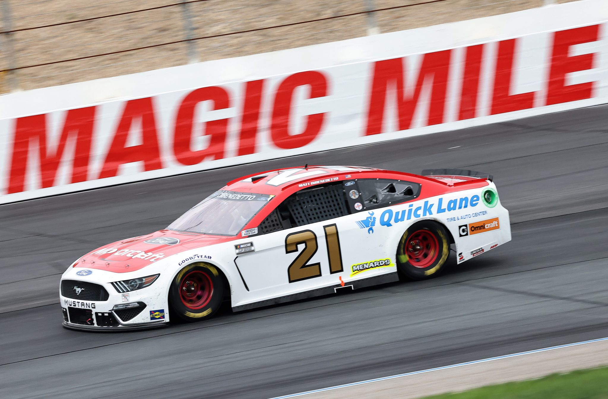 LOUDON, NEW HAMPSHIRE - JULY 18: Matt DiBenedetto, driver of the #21 Motorcraft/Quick Lane Ford, drives during the NASCAR Cup Series Foxwoods Resort Casino 301 at New Hampshire Motor Speedway on July 18, 2021 in Loudon, New Hampshire. (Photo by James Gilbert/Getty Images)   Getty Images