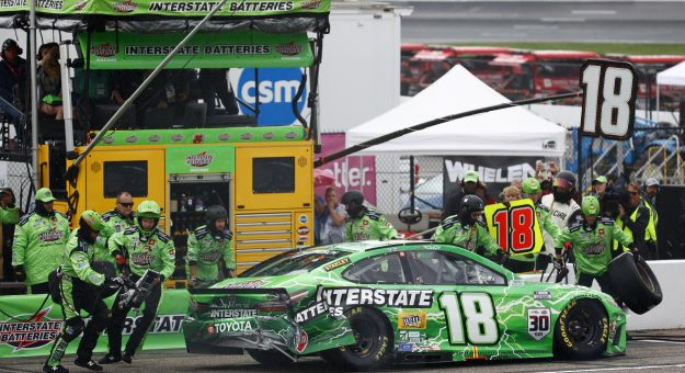 LOUDON, NEW HAMPSHIRE - JULY 18:  The pit crew work to repair  the #18 Interstate Batteries Toyota, driven by Kyle Busch during the NASCAR Cup Series  Foxwoods Resort Casino 301 at New Hampshire Motor Speedway on July 18, 2021 in Loudon, New Hampshire. (Photo by Jared C. Tilton/Getty Images)   Getty Images