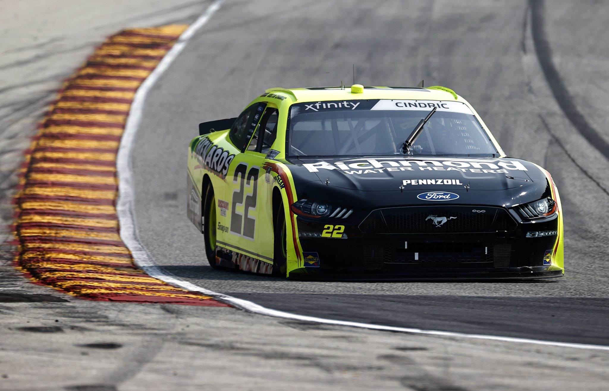 ELKHART LAKE, WISCONSIN - JULY 02: Austin Cindric, driver of the #22 Menards/Richmond Ford, drives during practice for the NASCAR Xfinity Series Henry 180 at Road America on July 02, 2021 in Elkhart Lake, Wisconsin. (Photo by Jared C. Tilton/Getty Images) | Getty Images