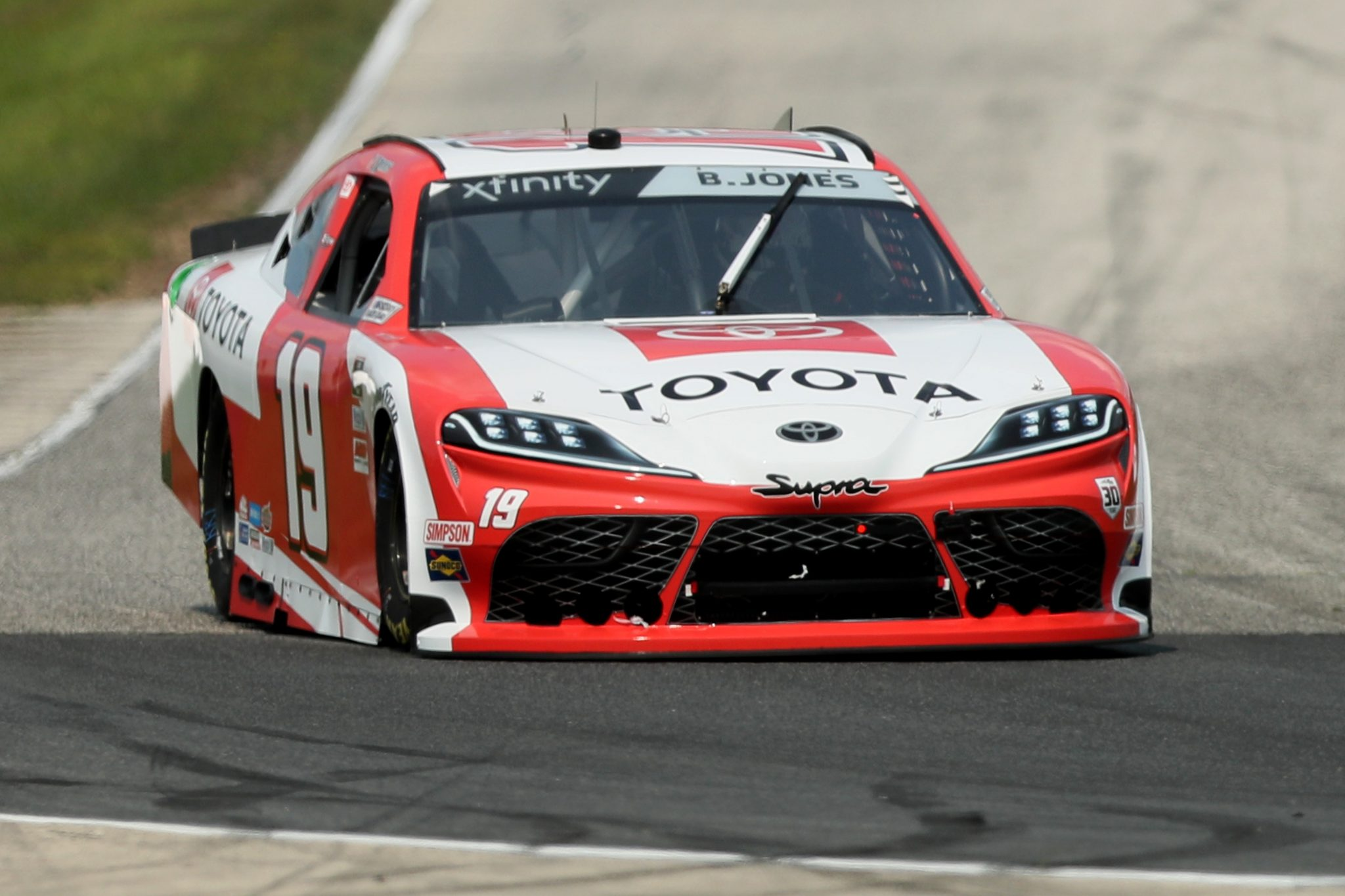 ELKHART LAKE, WISCONSIN - JULY 02: Brandon Jones, driver of the #19 Toyota Toyota, drives during practice for the NASCAR Xfinity Series Henry 180 at Road America on July 02, 2021 in Elkhart Lake, Wisconsin. (Photo by James Gilbert/Getty Images) | Getty Images