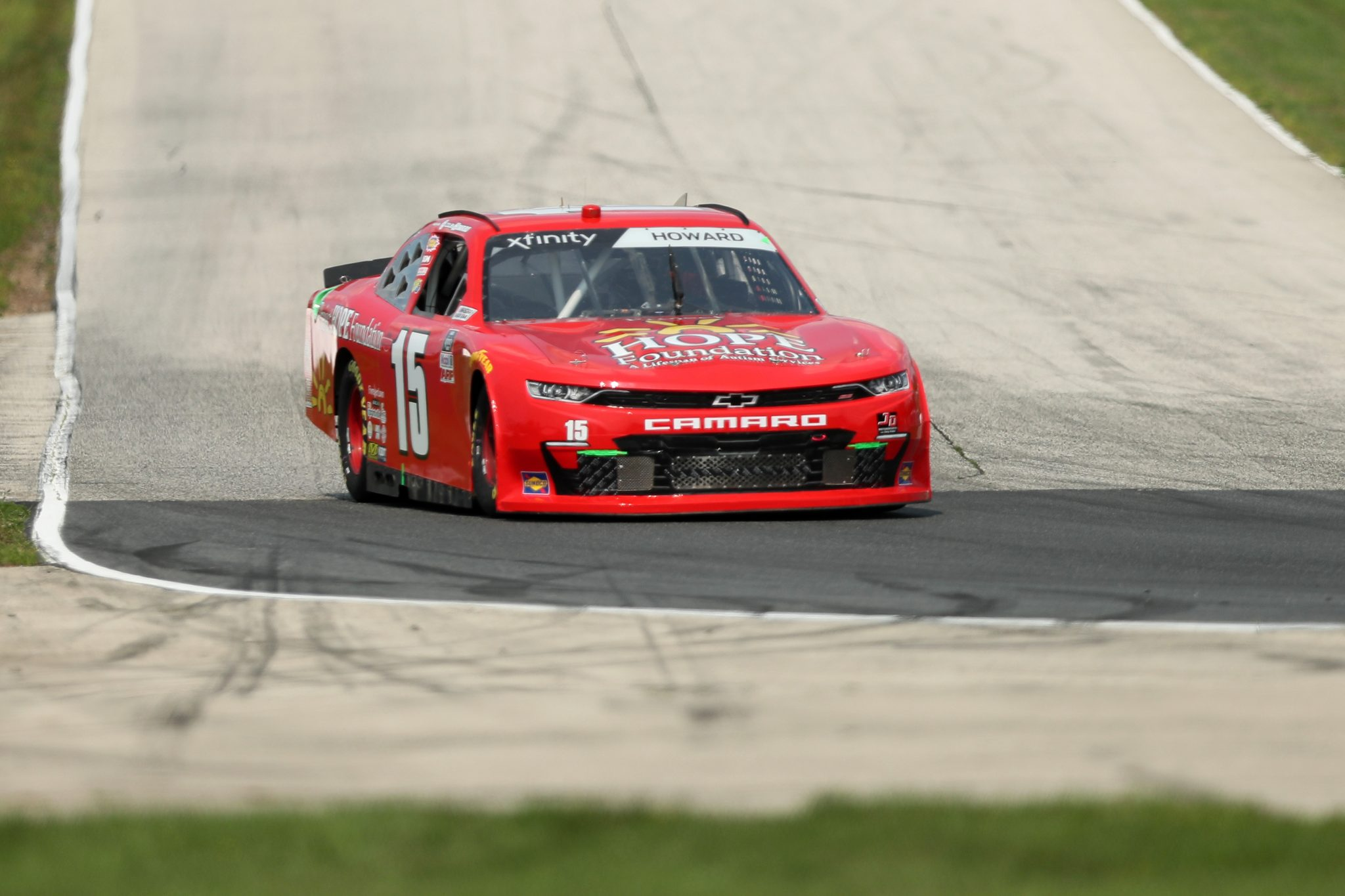 ELKHART LAKE, WISCONSIN - JULY 02: Colby Howard, driver of the #15 Project Hope Foundation Chevrolet, drives during practice for the NASCAR Xfinity Series Henry 180 at Road America on July 02, 2021 in Elkhart Lake, Wisconsin. (Photo by James Gilbert/Getty Images)   Getty Images