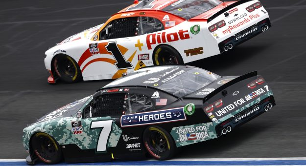 CONCORD, NORTH CAROLINA - MAY 29: Justin Allgaier, driver of the #7 Unilever United For America Chevrolet, and Michael Annett, driver of the #1 Pilot Flying J myRewards Plus Chevrolet, race during the NASCAR Xfinity Series Alsco Uniforms 300 at Charlotte Motor Speedway on May 29, 2021 in Concord, North Carolina. (Photo by Jared C. Tilton/Getty Images) | Getty Images