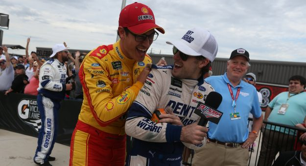 TALLADEGA, ALABAMA - OCTOBER 14: Joey Logano, driver of the #22 Shell Pennzoil Ford, congratulates Ryan Blaney, driver of the #12 Dent Wizard Ford, after winning the Monster Energy NASCAR Cup Series 1000Bulbs.com 500 at Talladega Superspeedway on October 14, 2019 in Talladega, Alabama. (Photo by Brian Lawdermilk/Getty Images) | Getty Images