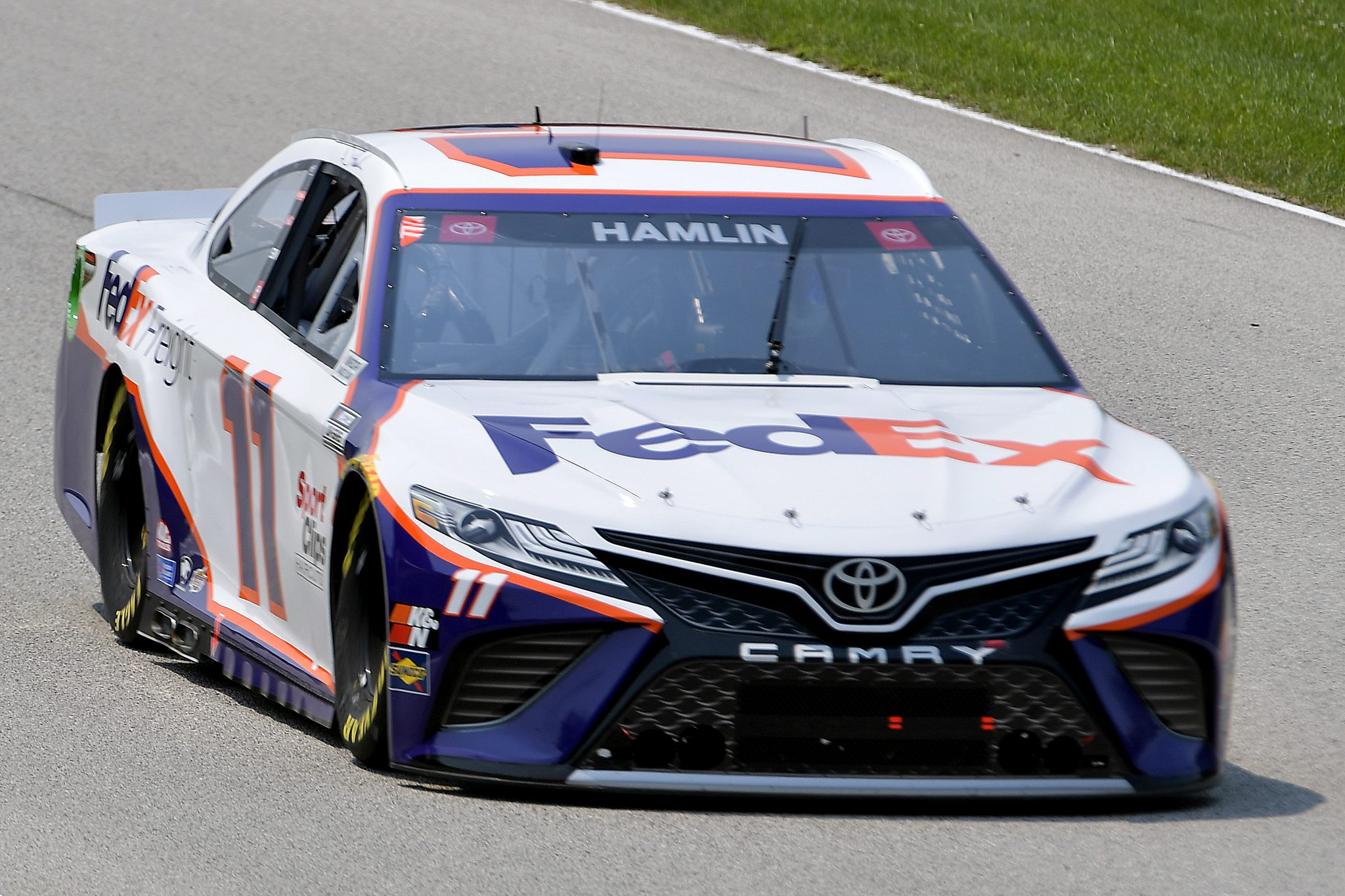 ELKHART LAKE, WISCONSIN - JULY 03: Denny Hamlin, driver of the #11 FedEx Freight Toyota, drives during practice for the NASCAR Cup Series Jockey Made in America 250 Presented by Kwik Trip at Road America on July 03, 2021 in Elkhart Lake, Wisconsin. (Photo by Logan Riely/Getty Images)   Getty Images