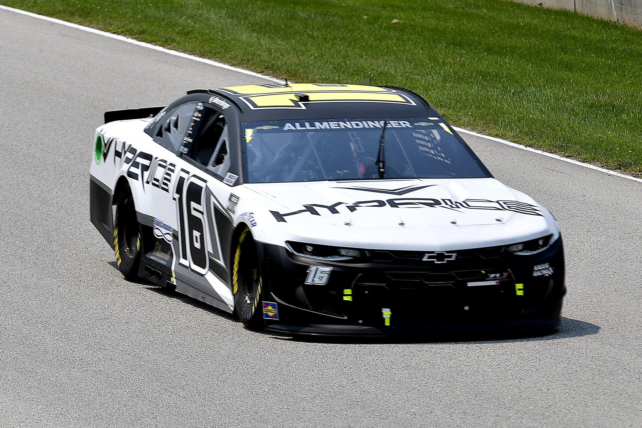 ELKHART LAKE, WISCONSIN - JULY 03: AJ Allmendinger, driver of the #16 Hyperice Chevrolet, drives during practice for the NASCAR Cup Series Jockey Made in America 250 Presented by Kwik Trip at Road America on July 03, 2021 in Elkhart Lake, Wisconsin. (Photo by Logan Riely/Getty Images)   Getty Images