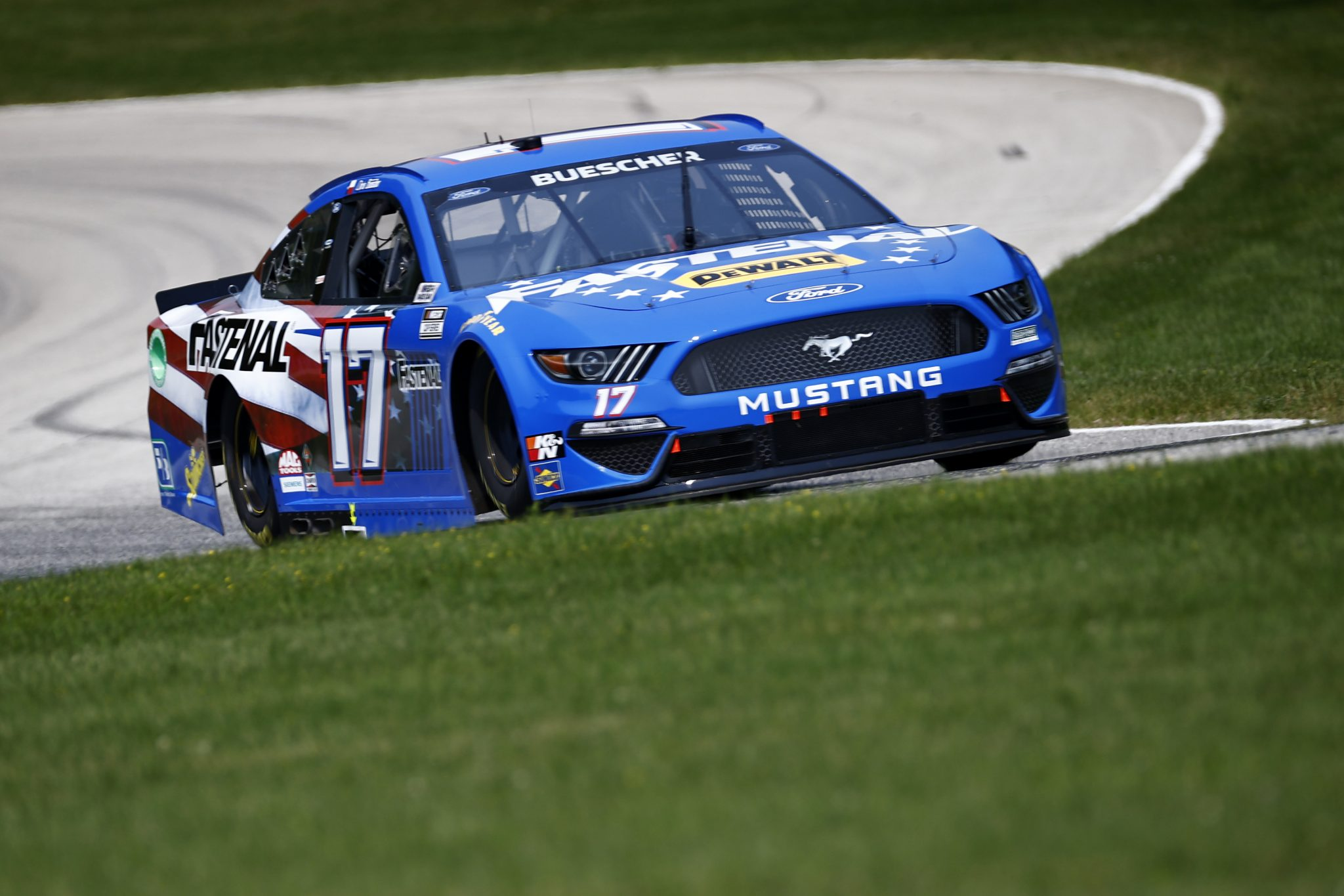 ELKHART LAKE, WISCONSIN - JULY 03: Chris Buescher, driver of the #17 Fastenal Ford, drives during practice for the NASCAR Cup Series Jockey Made in America 250 Presented by Kwik Trip at Road America on July 03, 2021 in Elkhart Lake, Wisconsin. (Photo by Jared C. Tilton/Getty Images) | Getty Images