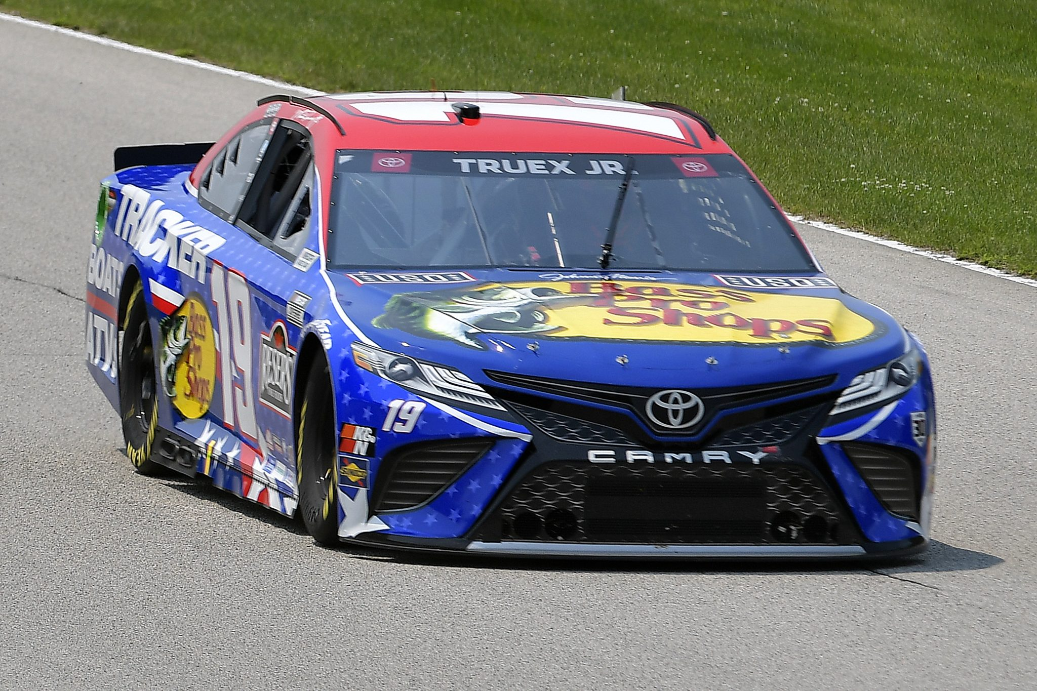 ELKHART LAKE, WISCONSIN - JULY 03: Martin Truex Jr., driver of the #19 Bass Pro Toyota, drives during practice for the NASCAR Cup Series Jockey Made in America 250 Presented by Kwik Trip at Road America on July 03, 2021 in Elkhart Lake, Wisconsin. (Photo by Logan Riely/Getty Images) | Getty Images