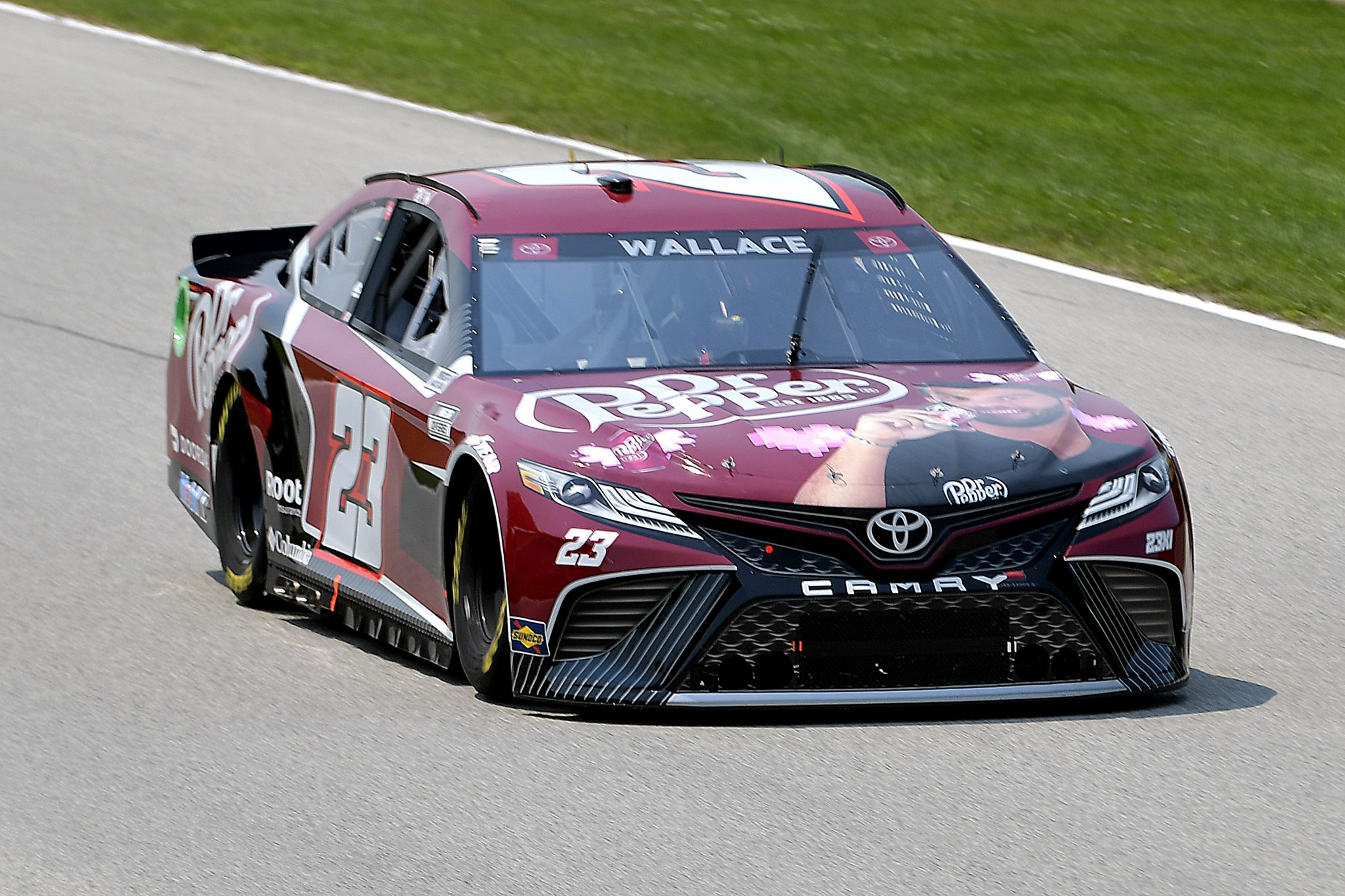 ELKHART LAKE, WISCONSIN - JULY 03: Bubba Wallace, driver of the #23 Dr. Pepper Toyota, drives during practice for the NASCAR Cup Series Jockey Made in America 250 Presented by Kwik Trip at Road America on July 03, 2021 in Elkhart Lake, Wisconsin. (Photo by Logan Riely/23XI Racing via Getty Images)