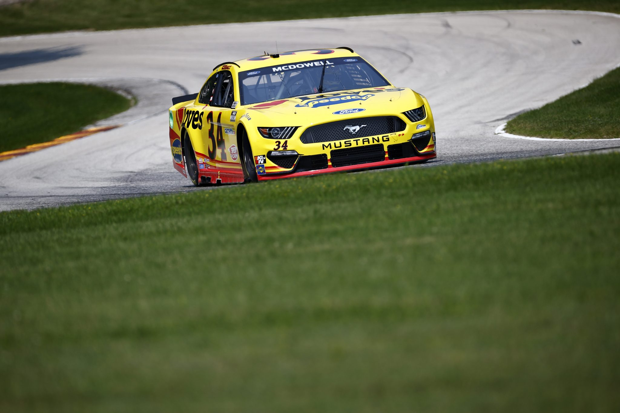 ELKHART LAKE, WISCONSIN - JULY 03: Michael McDowell, driver of the #34 Love's Travel Stops Ford, drives during practice for the NASCAR Cup Series Jockey Made in America 250 Presented by Kwik Trip at Road America on July 03, 2021 in Elkhart Lake, Wisconsin. (Photo by Jared C. Tilton/Getty Images) | Getty Images