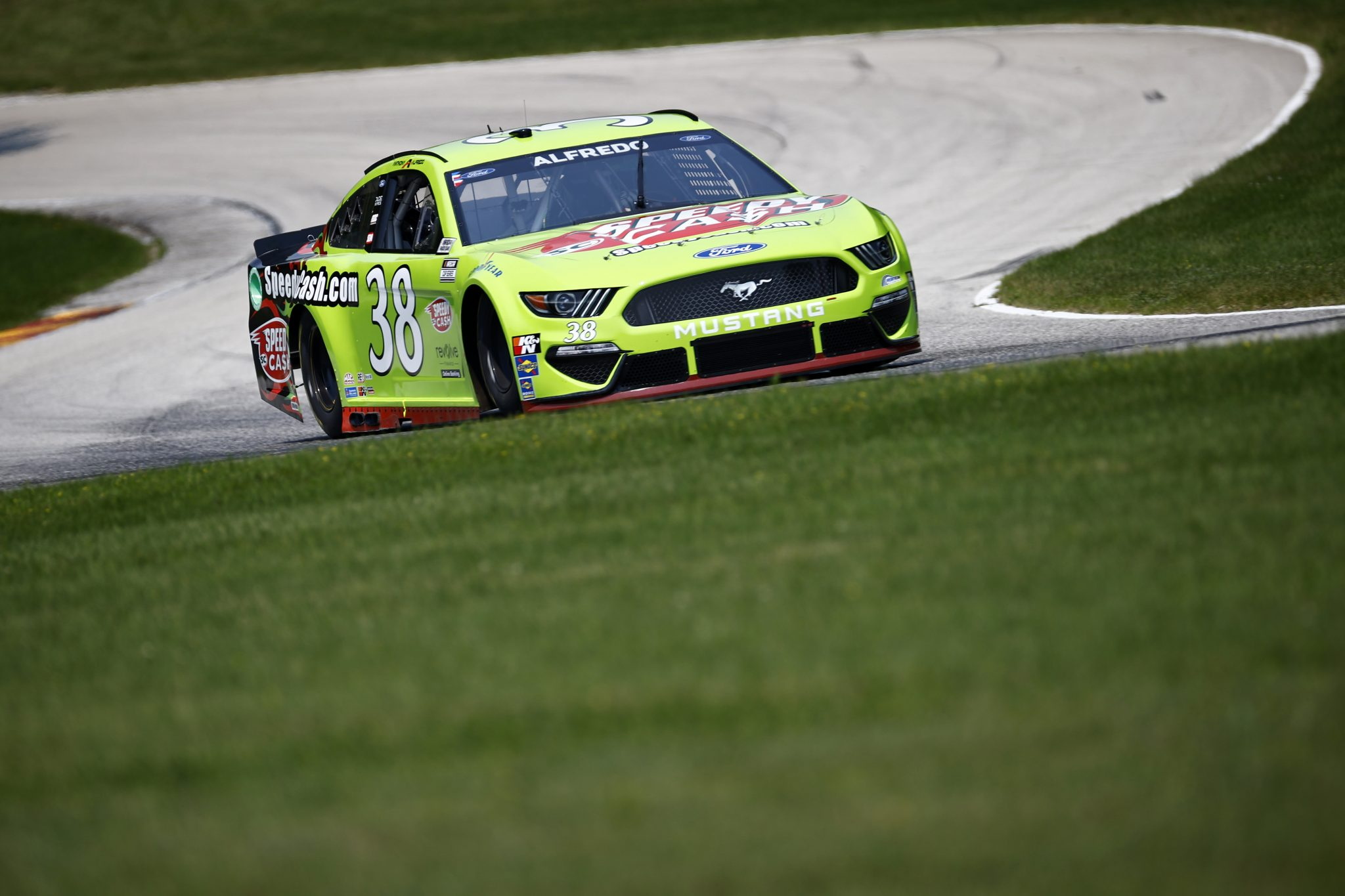 ELKHART LAKE, WISCONSIN - JULY 03: Anthony Alfredo, driver of the #38 Speedy Cash Ford, drives during practice for the NASCAR Cup Series Jockey Made in America 250 Presented by Kwik Trip at Road America on July 03, 2021 in Elkhart Lake, Wisconsin. (Photo by Jared C. Tilton/Getty Images)   Getty Images