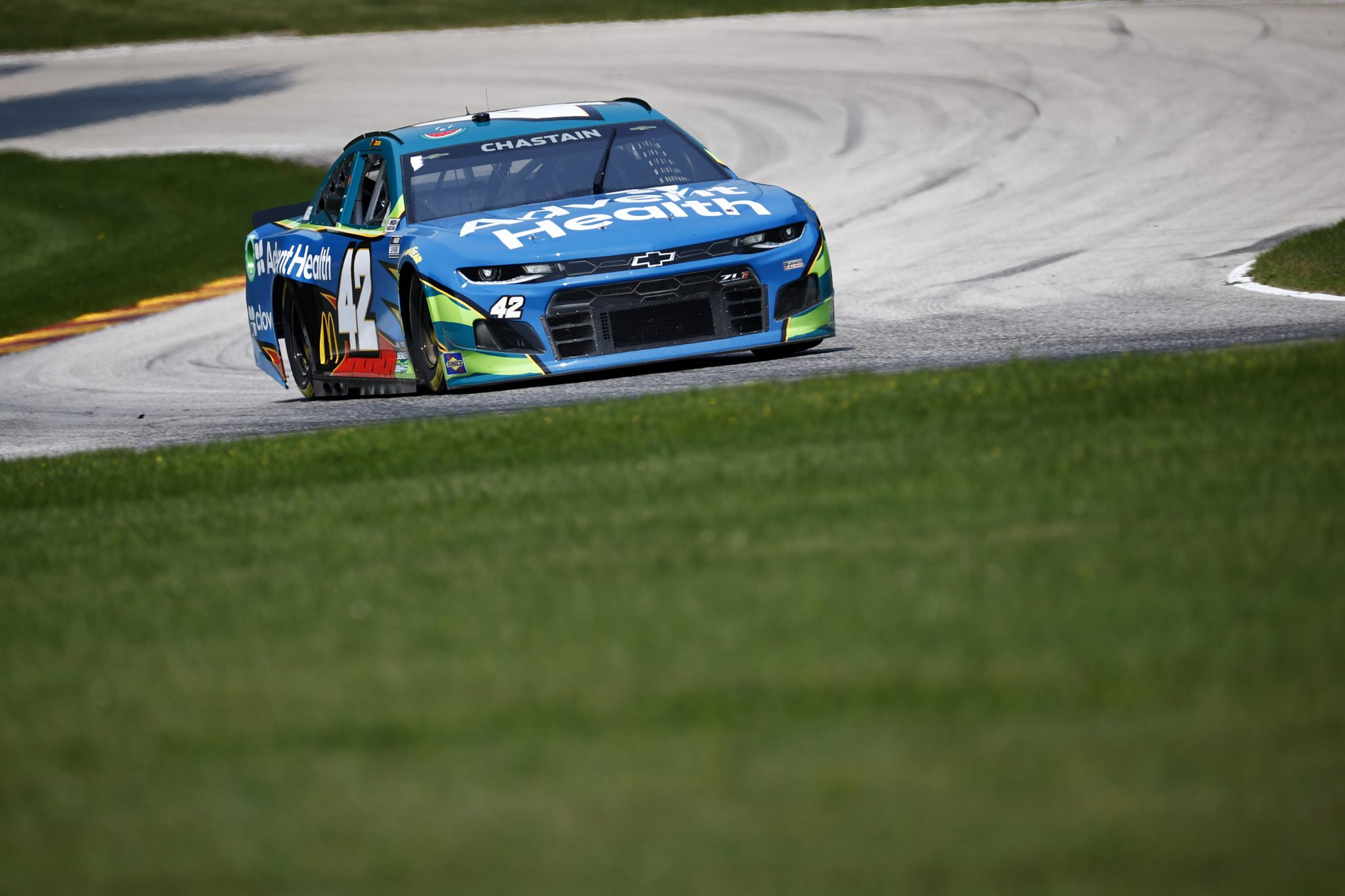ELKHART LAKE, WISCONSIN - JULY 03: Ross Chastain, driver of the #42 AdventHealth Chevrolet, drives during practice for the NASCAR Cup Series Jockey Made in America 250 Presented by Kwik Trip at Road America on July 03, 2021 in Elkhart Lake, Wisconsin. (Photo by Jared C. Tilton/Getty Images) | Getty Images