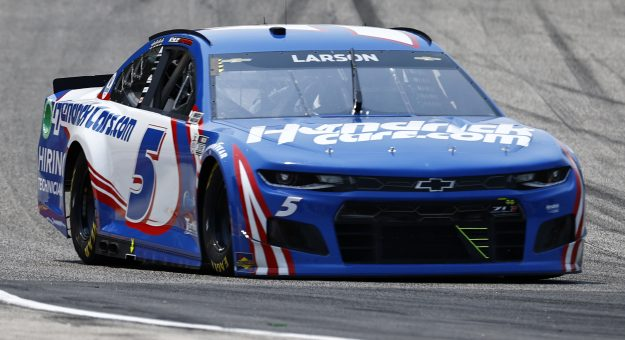 ELKHART LAKE, WISCONSIN - JULY 03: Kyle Larson, driver of the #5 HendrickCars.com Chevrolet, drives during practice for the NASCAR Cup Series Jockey Made in America 250 Presented by Kwik Trip at Road America on July 03, 2021 in Elkhart Lake, Wisconsin. (Photo by Jared C. Tilton/Getty Images)   Getty Images