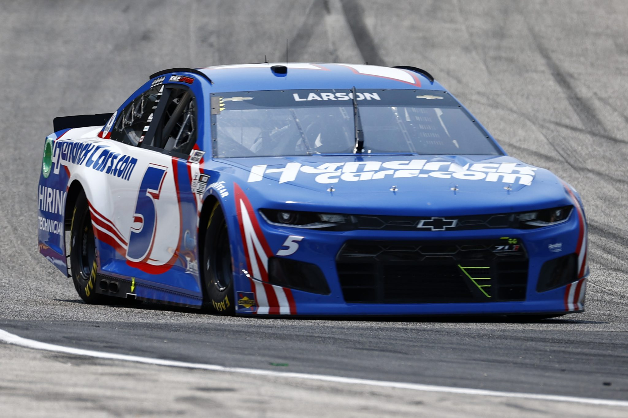 ELKHART LAKE, WISCONSIN - JULY 03: Kyle Larson, driver of the #5 HendrickCars.com Chevrolet, drives during practice for the NASCAR Cup Series Jockey Made in America 250 Presented by Kwik Trip at Road America on July 03, 2021 in Elkhart Lake, Wisconsin. (Photo by Jared C. Tilton/Getty Images) | Getty Images