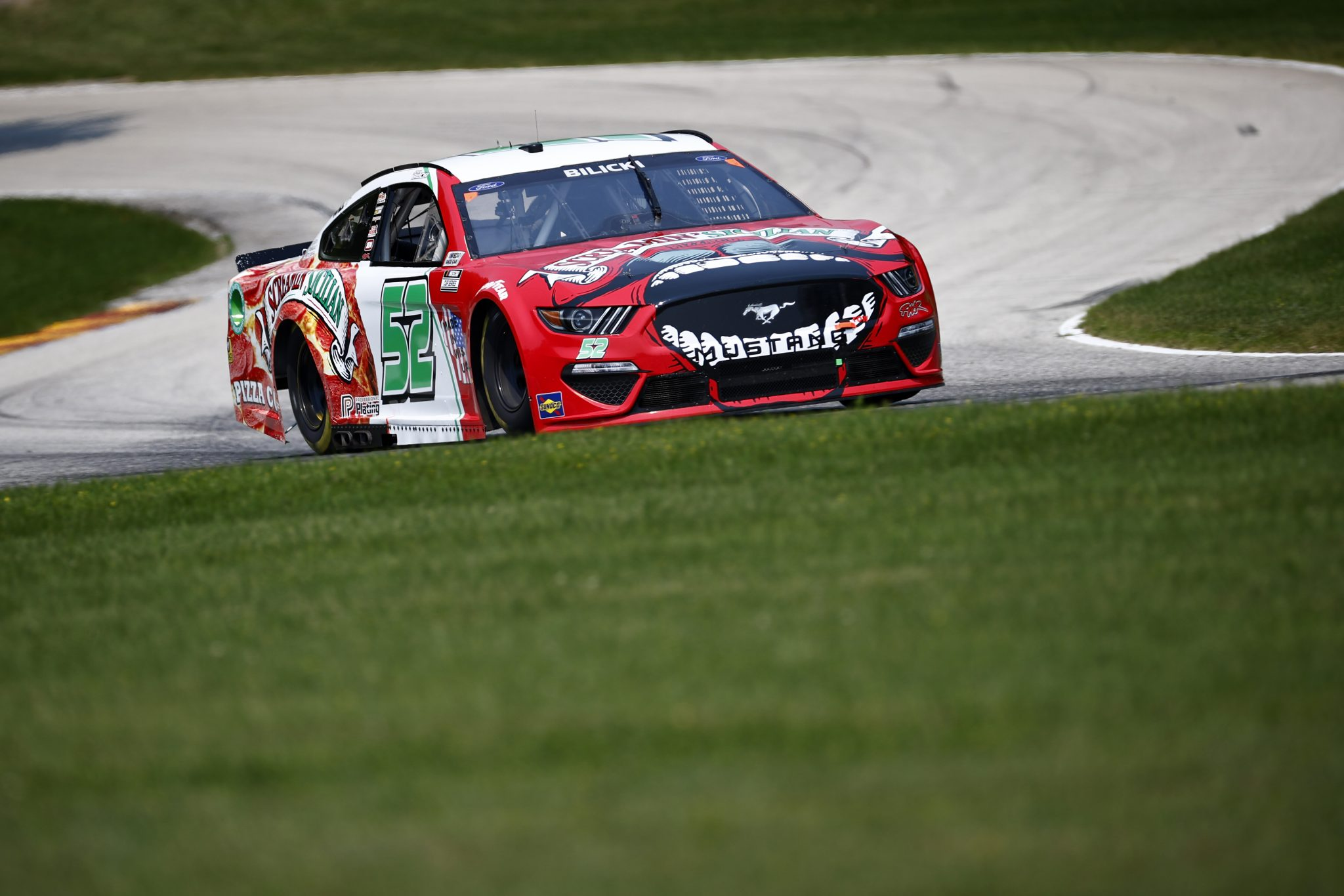 ELKHART LAKE, WISCONSIN - JULY 03: Josh Bilicki, driver of the #52 Screamin Sicilian Pizza Co Ford, drives during practice for the NASCAR Cup Series Jockey Made in America 250 Presented by Kwik Trip at Road America on July 03, 2021 in Elkhart Lake, Wisconsin. (Photo by Jared C. Tilton/Getty Images)   Getty Images
