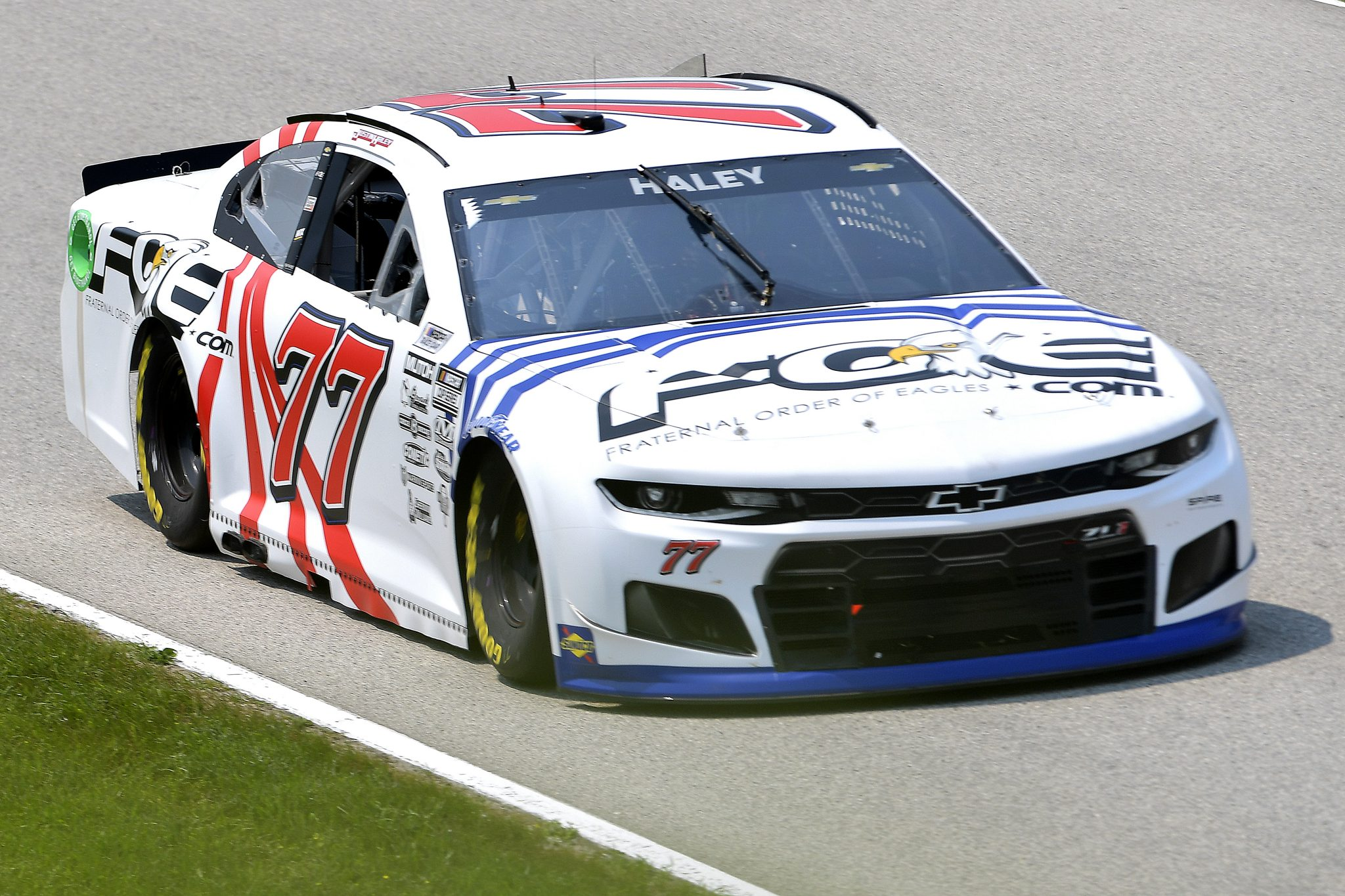 ELKHART LAKE, WISCONSIN - JULY 03: Justin Haley, driver of the #77 Fraternal Order of Eagles Chevrolet, drives during practice for the NASCAR Cup Series Jockey Made in America 250 Presented by Kwik Trip at Road America on July 03, 2021 in Elkhart Lake, Wisconsin. (Photo by Logan Riely/Getty Images) | Getty Images