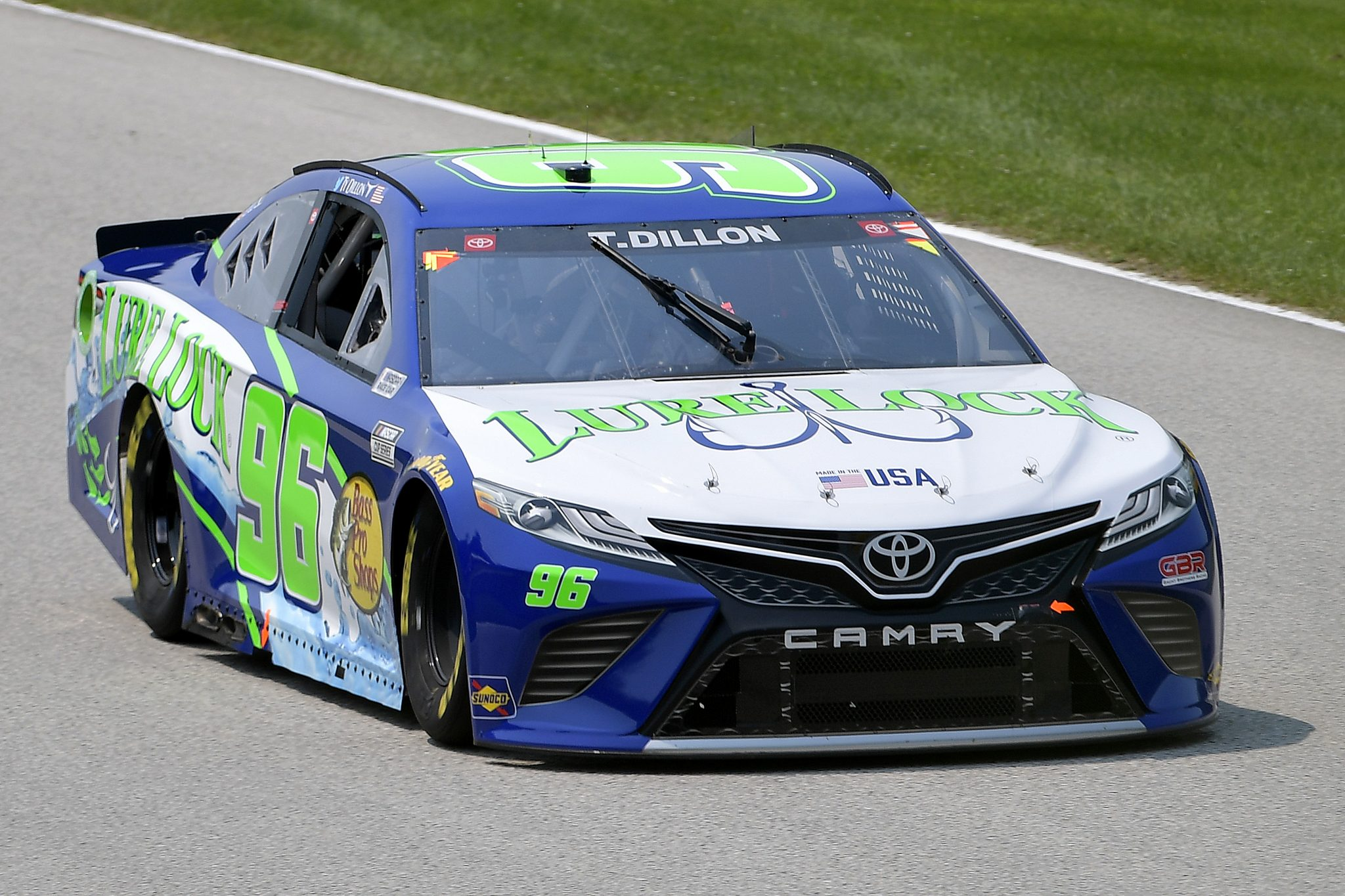 ELKHART LAKE, WISCONSIN - JULY 03: Ty Dillon, driver of the #96 Lure Lock/Bass Pro Shops Toyota, drives during practice for the NASCAR Cup Series Jockey Made in America 250 Presented by Kwik Trip at Road America on July 03, 2021 in Elkhart Lake, Wisconsin. (Photo by Logan Riely/Getty Images)   Getty Images