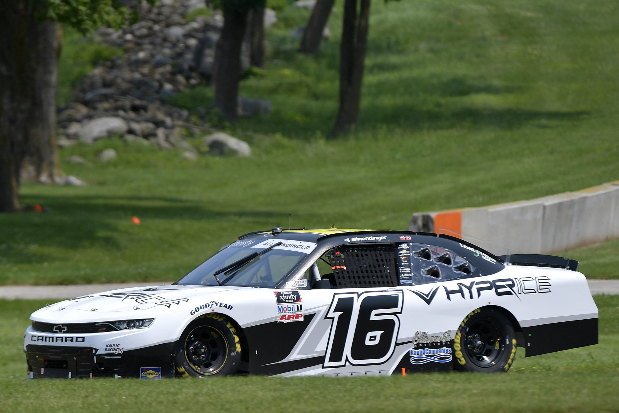 ELKHART LAKE, WISCONSIN - JULY 03: AJ Allmendinger, driver of the #16 Hyperice Chevrolet, drives during the NASCAR Xfinity Series Henry 180 at Road America on July 03, 2021 in Elkhart Lake, Wisconsin. (Photo by Logan Riely/Getty Images) | Getty Images
