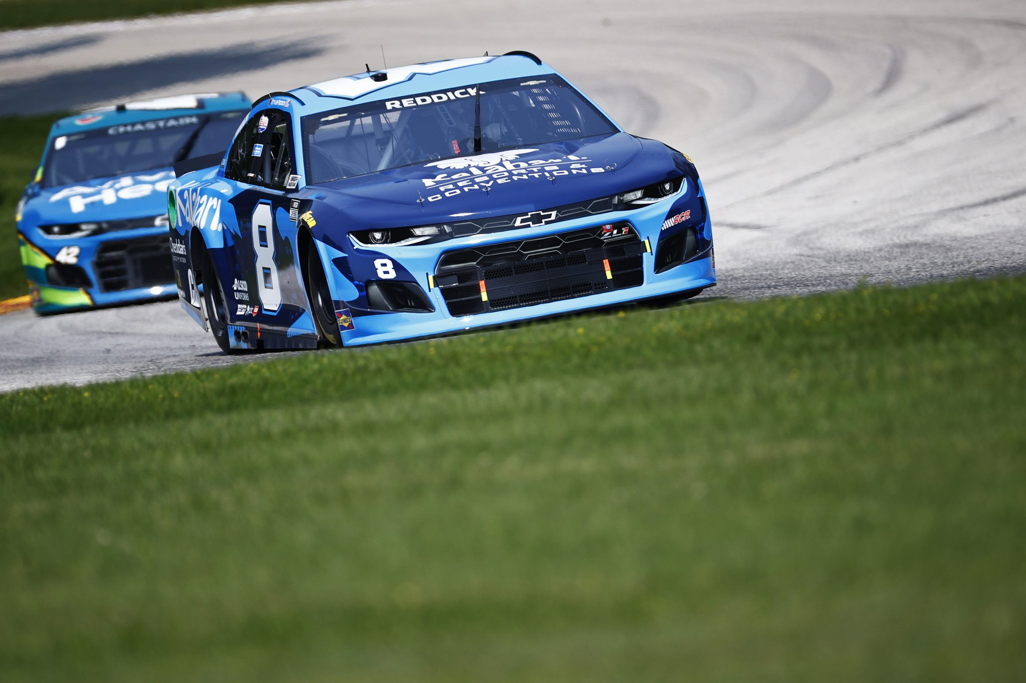 ELKHART LAKE, WISCONSIN - JULY 03: Tyler Reddick, driver of the #8 Kalahari Resorts + Conventions Chevrolet, drives during practice for the NASCAR Cup Series Jockey Made in America 250 Presented by Kwik Trip at Road America on July 03, 2021 in Elkhart Lake, Wisconsin. (Photo by Jared C. Tilton/Getty Images)   Getty Images