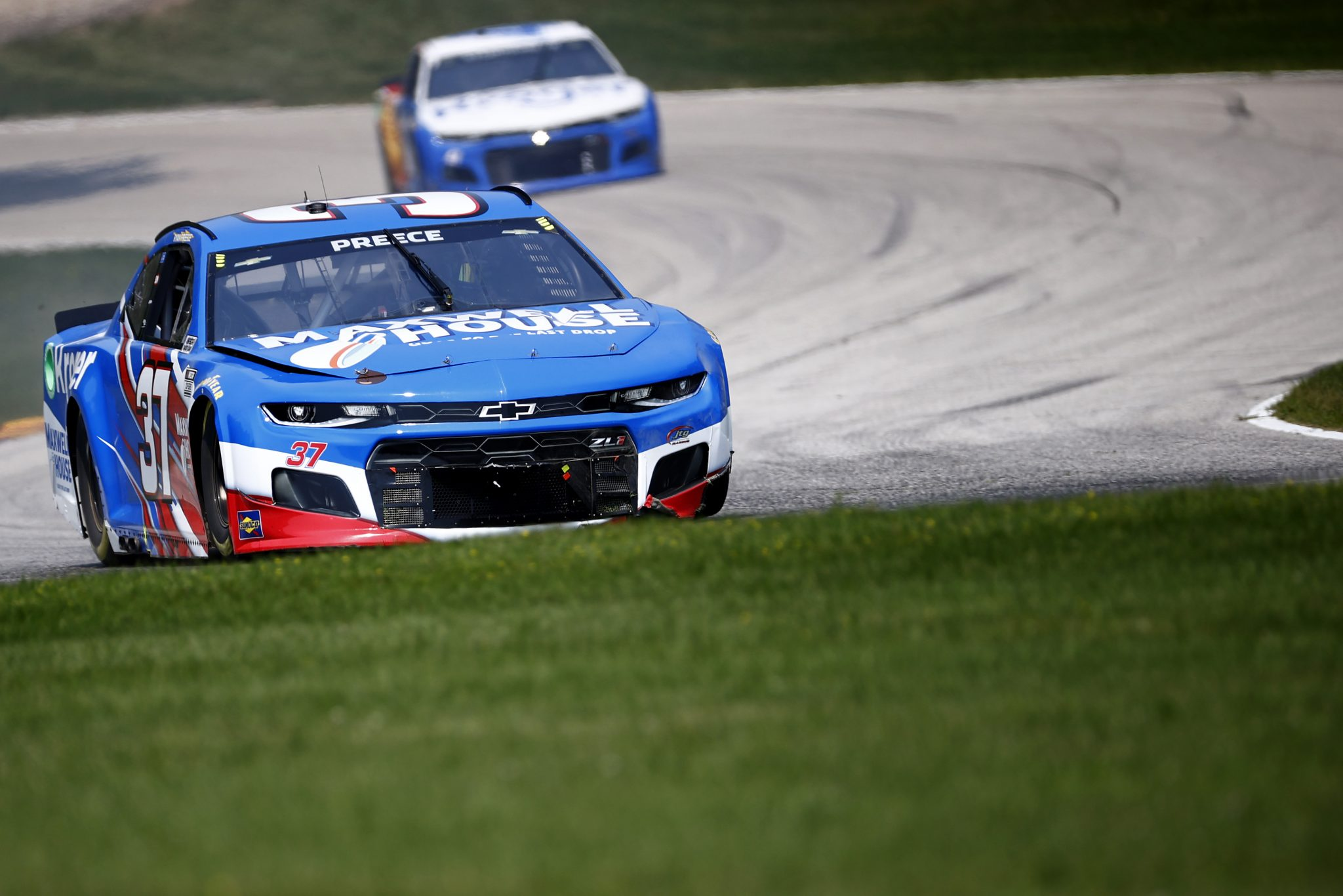 ELKHART LAKE, WISCONSIN - JULY 03: Ryan Preece, driver of the #37 Maxwell House/Kroger Chevrolet, drives during practice for the NASCAR Cup Series Jockey Made in America 250 Presented by Kwik Trip at Road America on July 03, 2021 in Elkhart Lake, Wisconsin. (Photo by Jared C. Tilton/Getty Images) | Getty Images