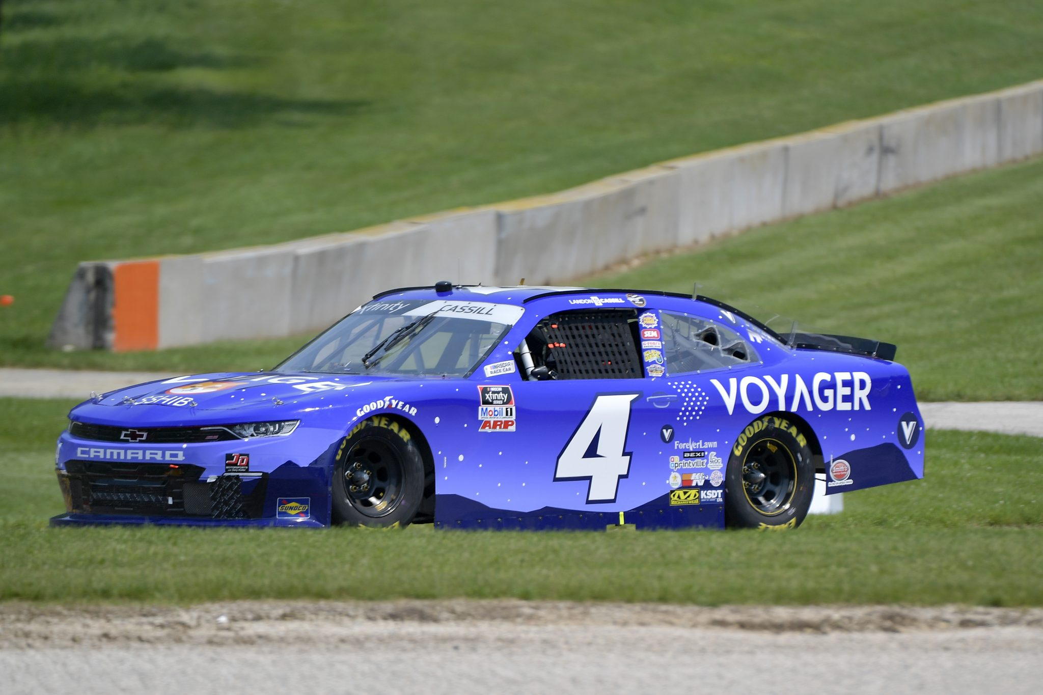 ELKHART LAKE, WISCONSIN - JULY 03: Landon Cassill, driver of the #4 Voyager Chevrolet, drives during the NASCAR Xfinity Series Henry 180 at Road America on July 03, 2021 in Elkhart Lake, Wisconsin. (Photo by Logan Riely/Getty Images)   Getty Images