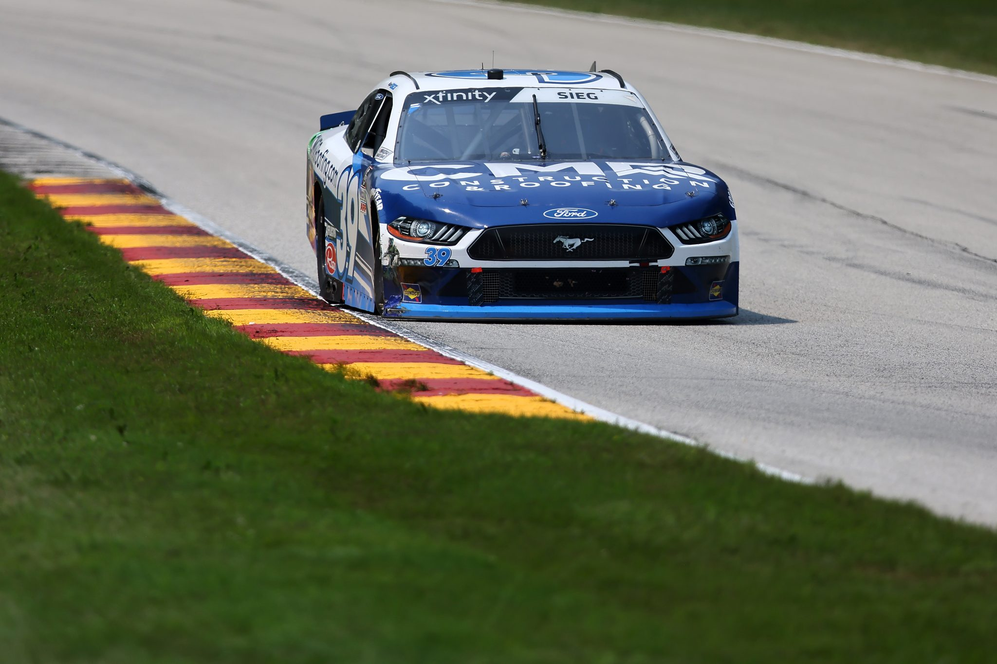 ELKHART LAKE, WISCONSIN - JULY 03: Ryan Sieg, driver of the #39 CMR Construction and Roofing/A-Game Ford, drives during the NASCAR Xfinity Series Henry 180 at Road America on July 03, 2021 in Elkhart Lake, Wisconsin. (Photo by James Gilbert/Getty Images) | Getty Images