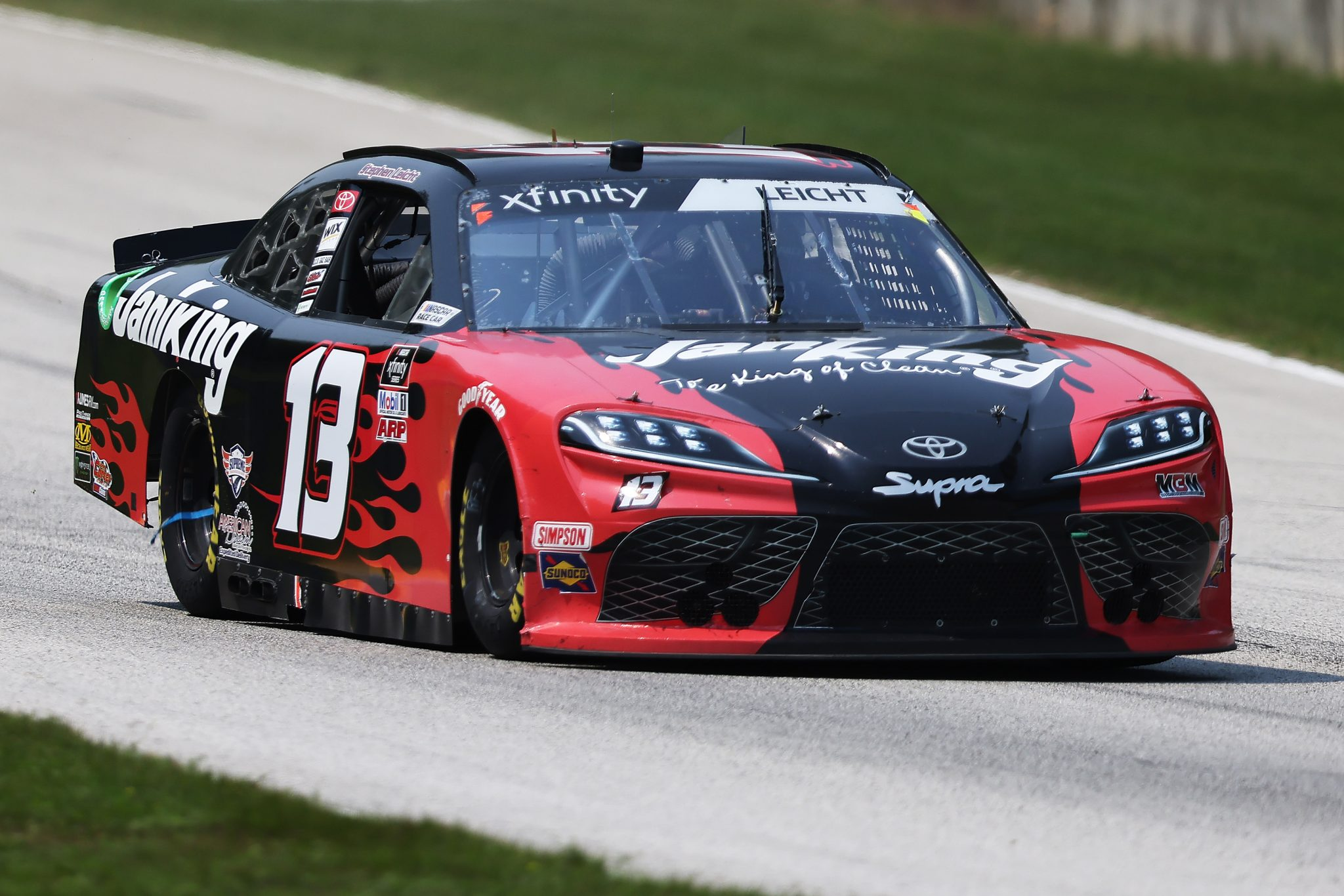 ELKHART LAKE, WISCONSIN - JULY 03: Stephen Leicht, driver of the #13 Janiking Toyota, drives during the NASCAR Xfinity Series Henry 180 at Road America on July 03, 2021 in Elkhart Lake, Wisconsin. (Photo by James Gilbert/Getty Images)   Getty Images